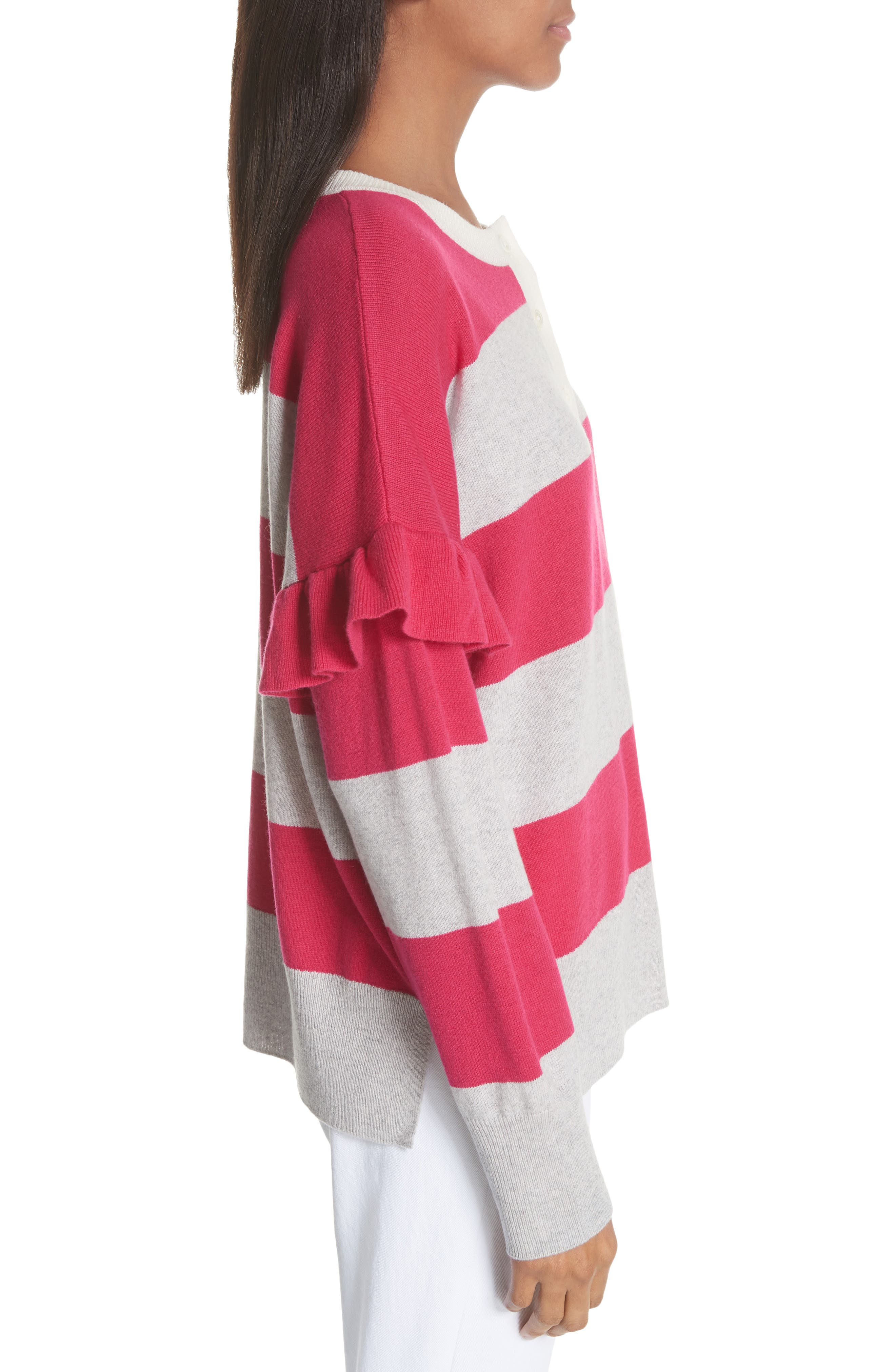 Inghin Stripe Wool & Cashmere Sweater,                             Alternate thumbnail 3, color,                             Hacienda/ Heather Grey