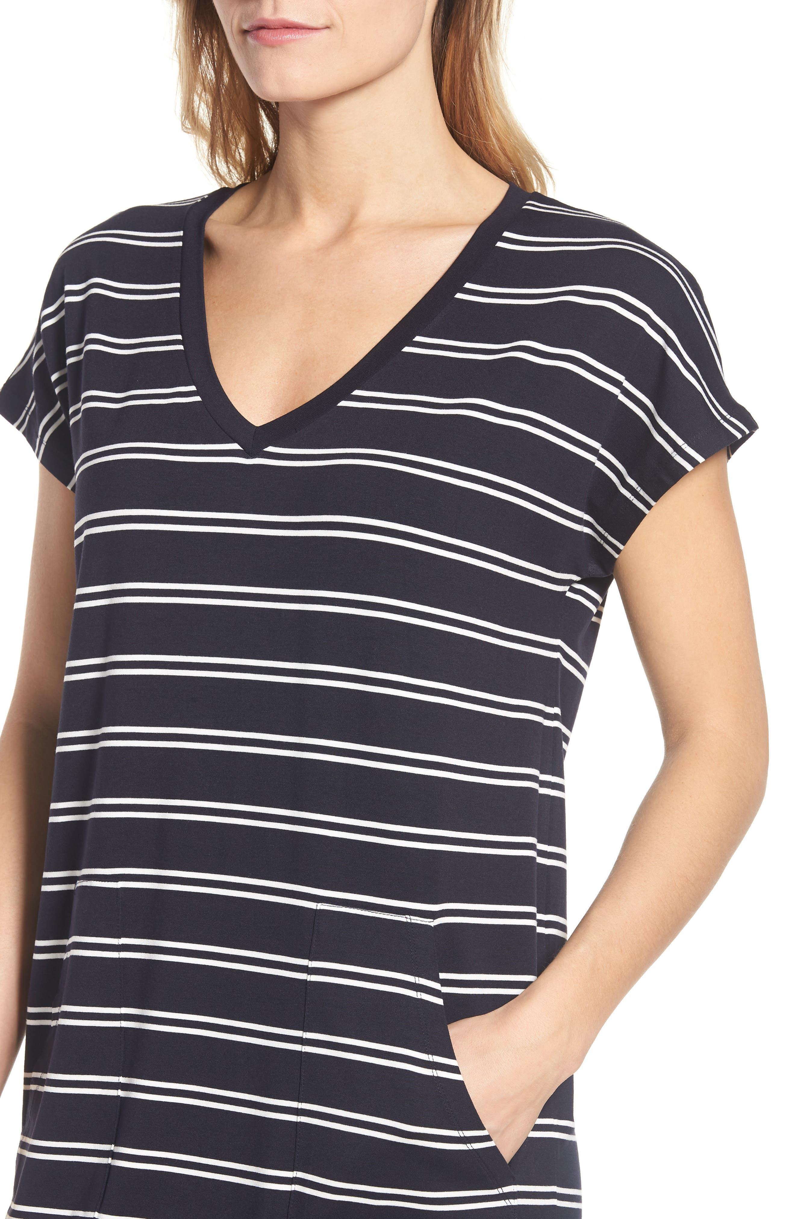 Stripe T-Shirt Dress,                             Alternate thumbnail 4, color,                             Deepest Navy White
