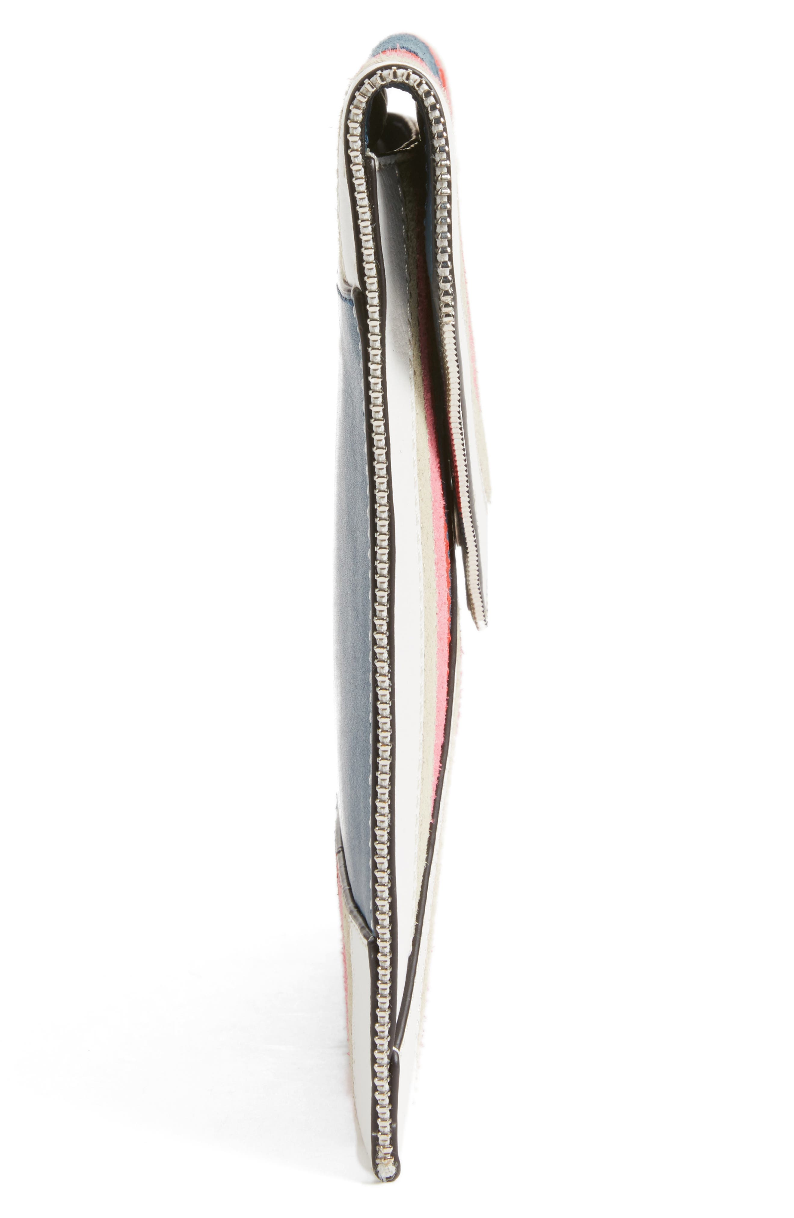 Leo Chevron Stripe Envelope Clutch,                             Alternate thumbnail 5, color,                             Pink Multi