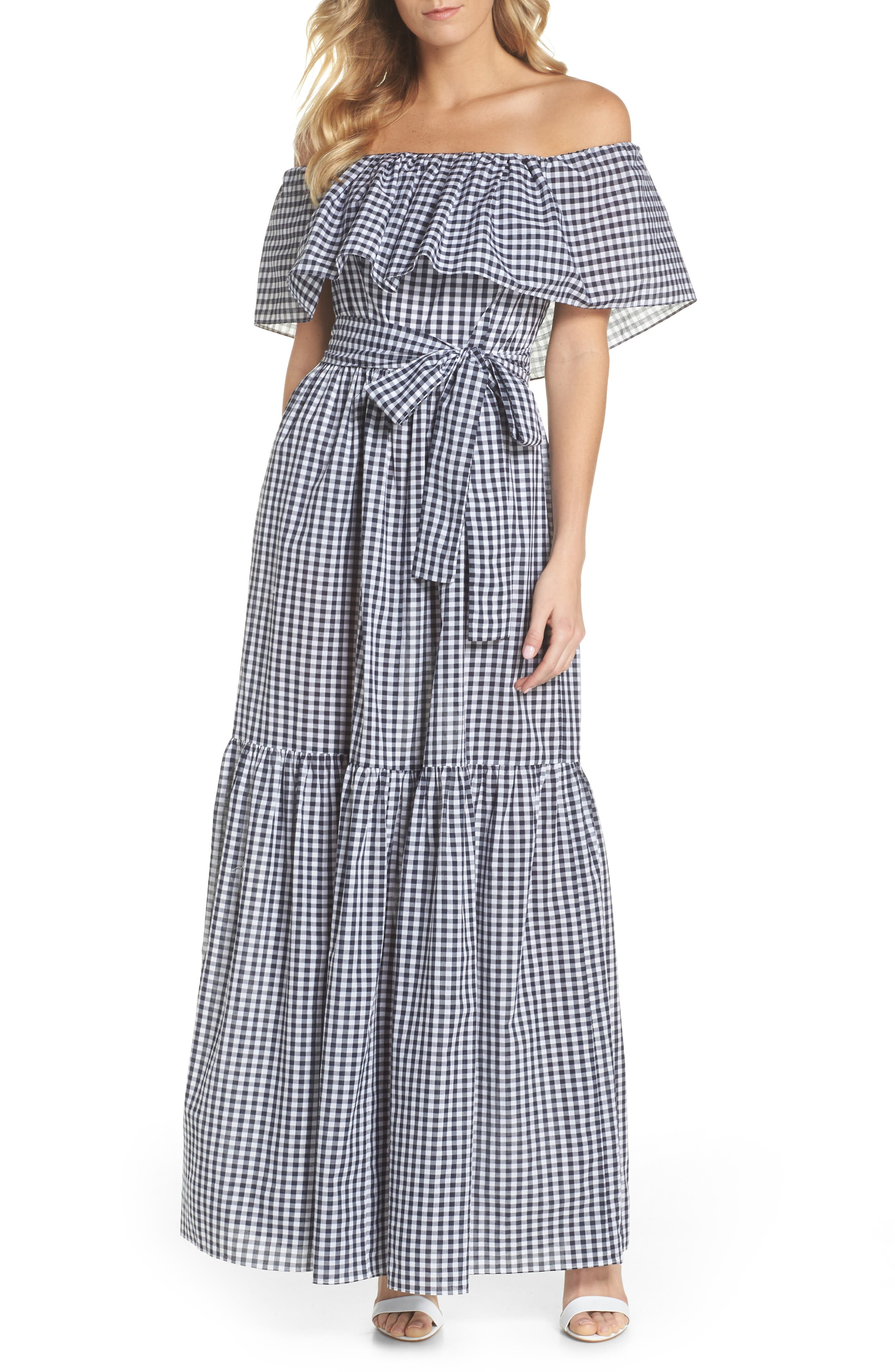 Off the Shoulder Ruffle Gingham Maxi Dress,                         Main,                         color, Blue White Gingham