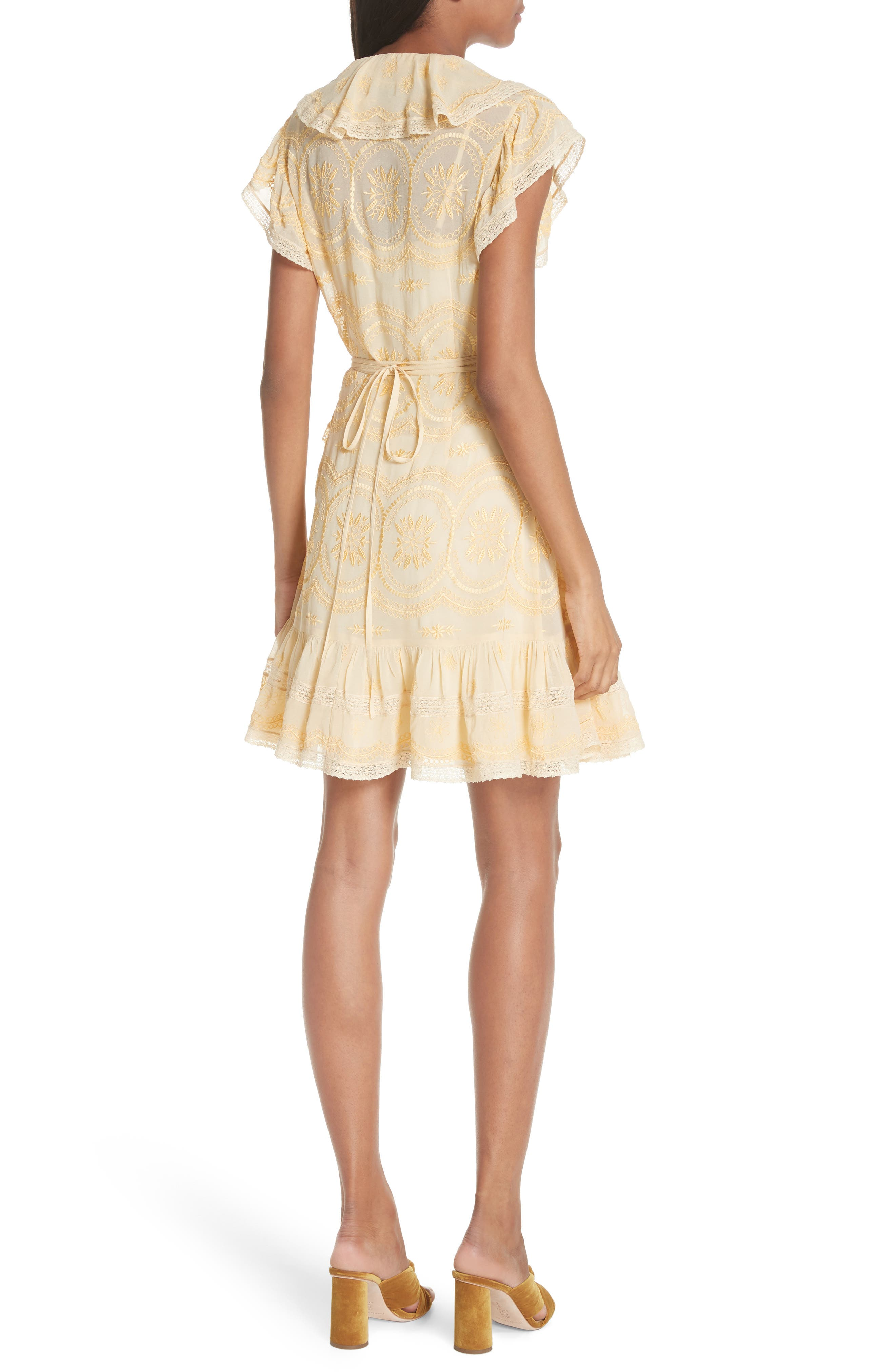 Anglaise Georgette Wrap Dress,                             Alternate thumbnail 2, color,                             Yellow