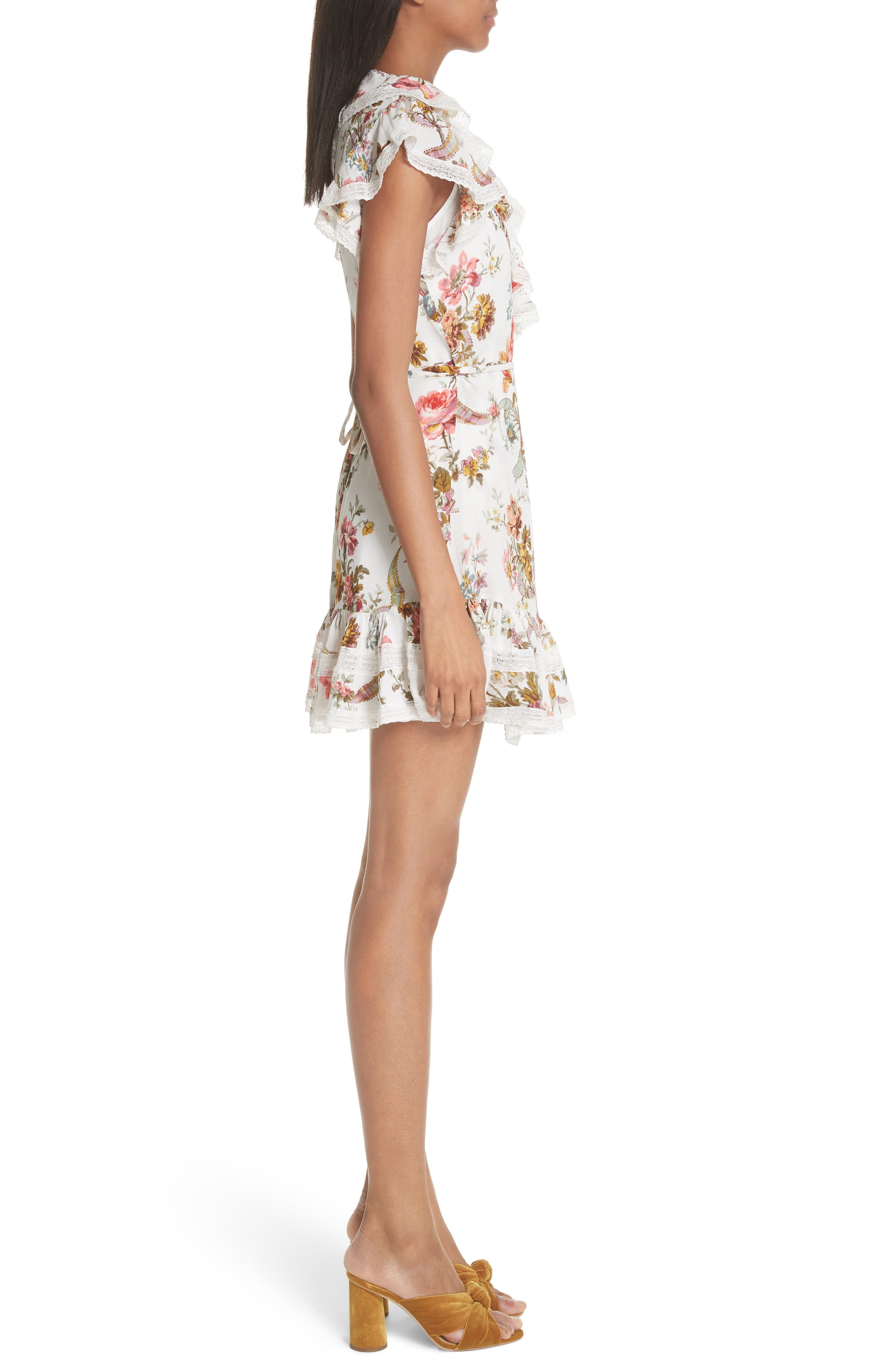 Rainbow Rose Wrap Dress,                             Alternate thumbnail 3, color,                             Ivory