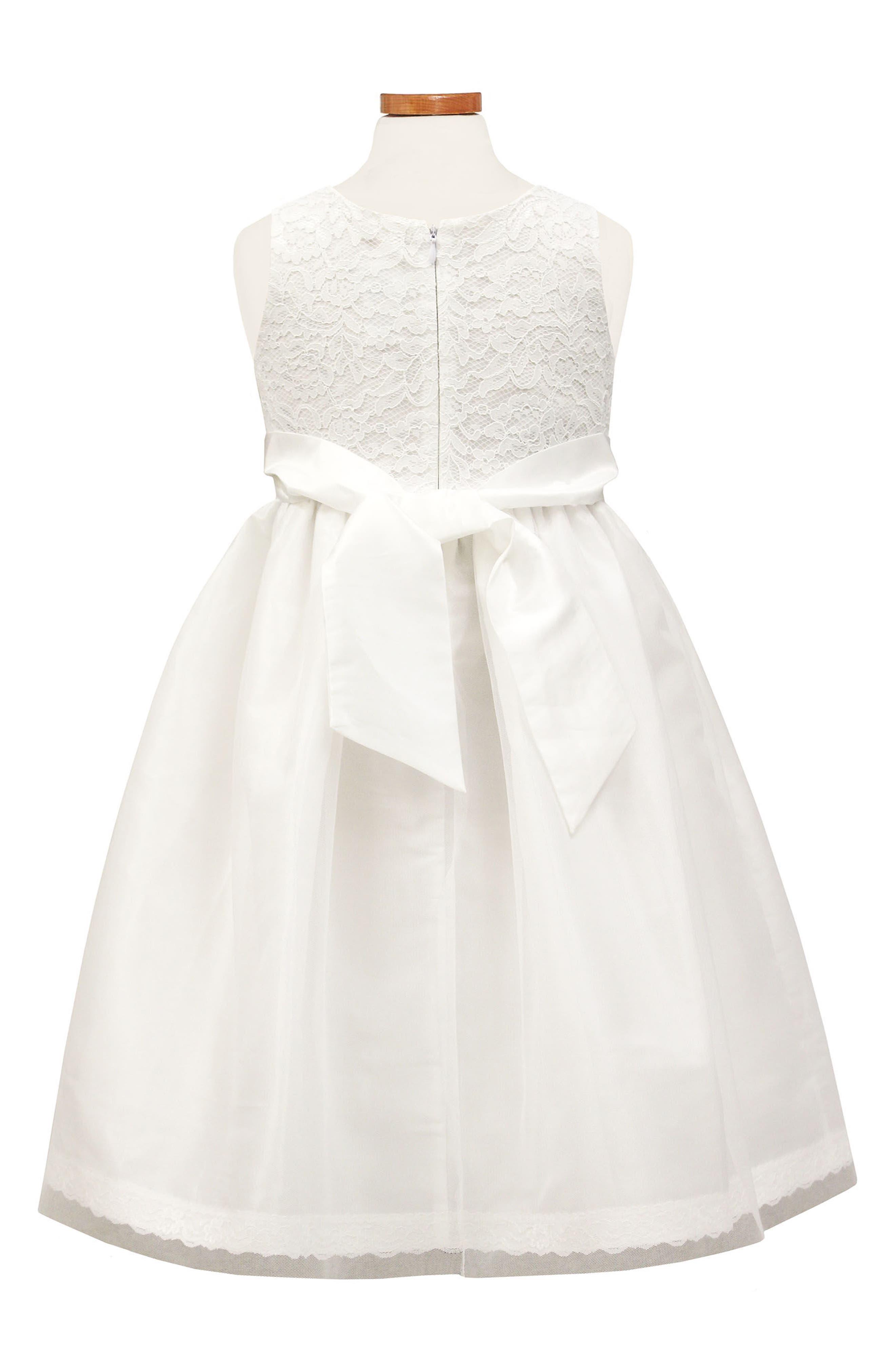 Lace Fit & Flare Dress,                             Alternate thumbnail 2, color,                             White