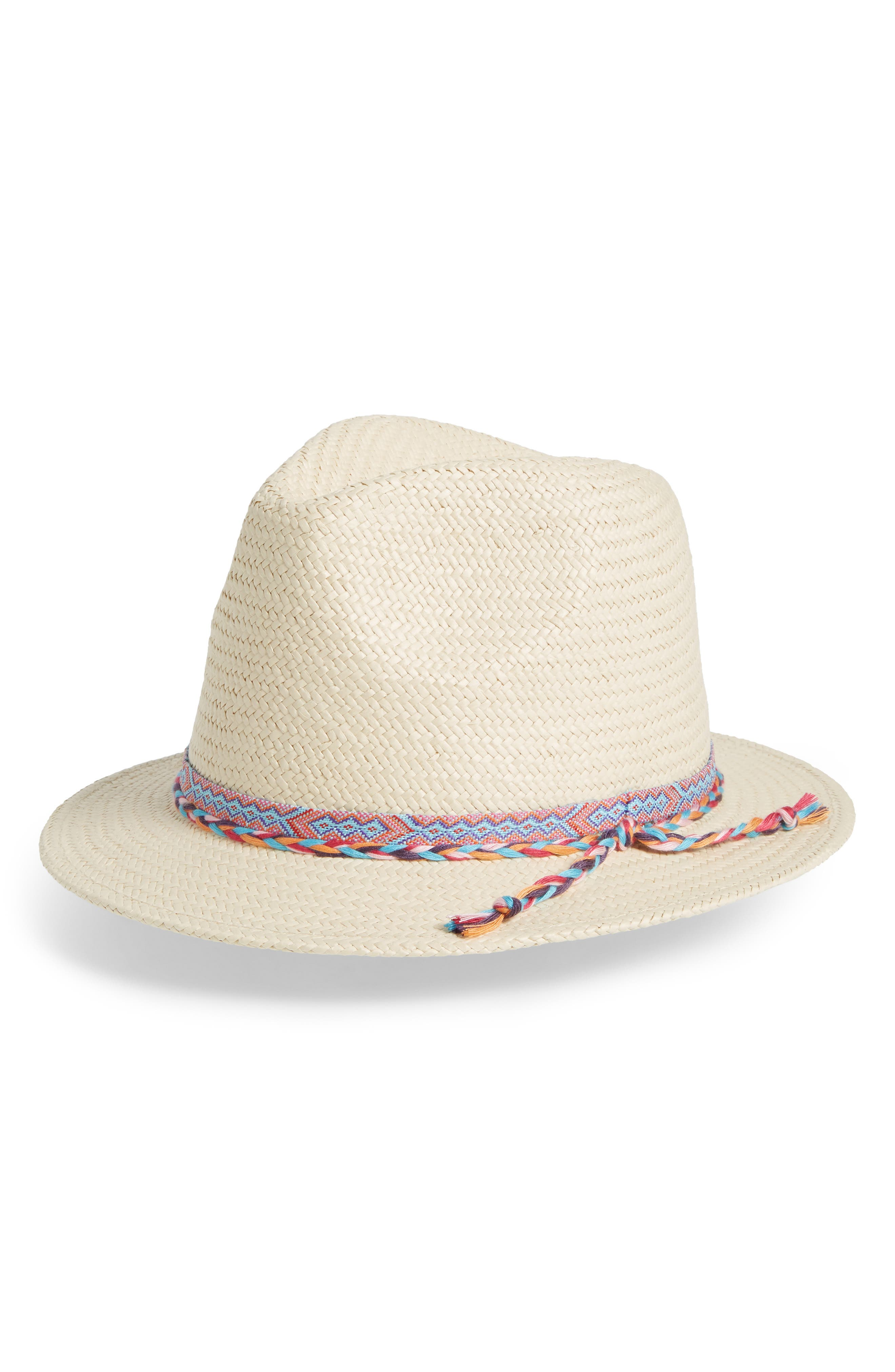 Braided Trim Panama Hat,                             Main thumbnail 1, color,                             Natural Combo