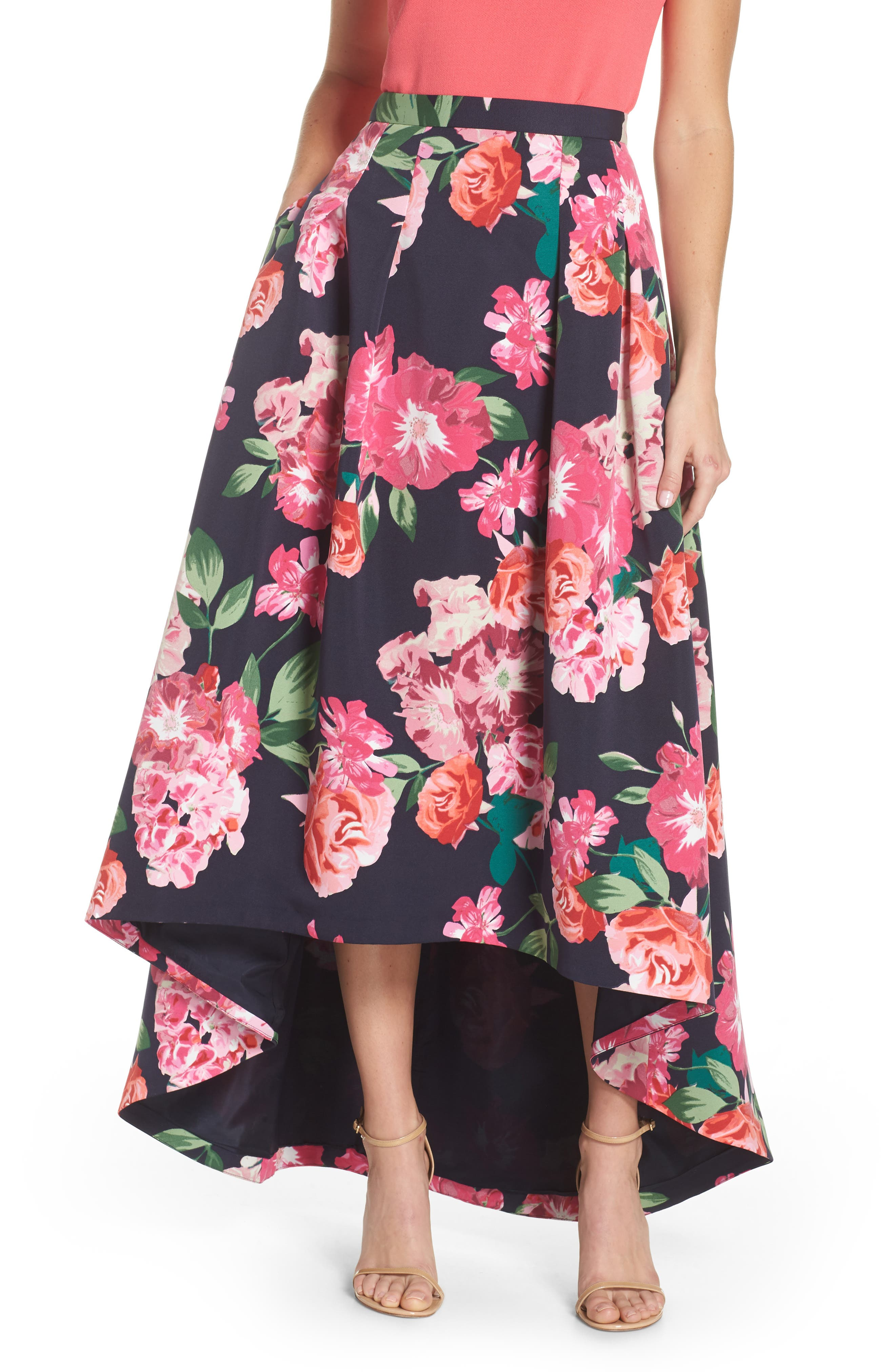 Floral High/Low Skirt,                             Main thumbnail 1, color,                             Navy/ Pink