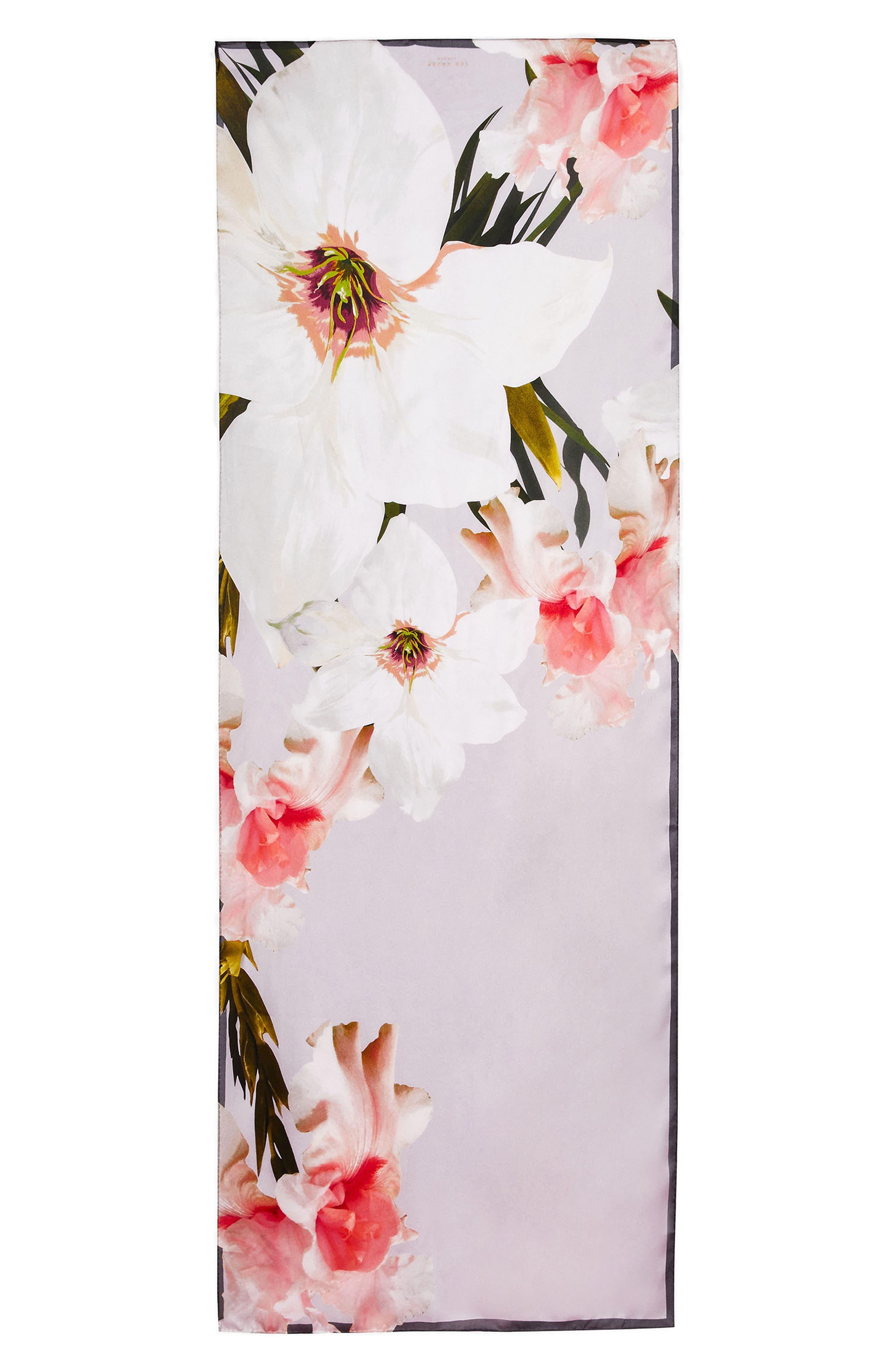 Chatsworth Blossom Silk Scarf,                             Main thumbnail 1, color,                             Mid Grey