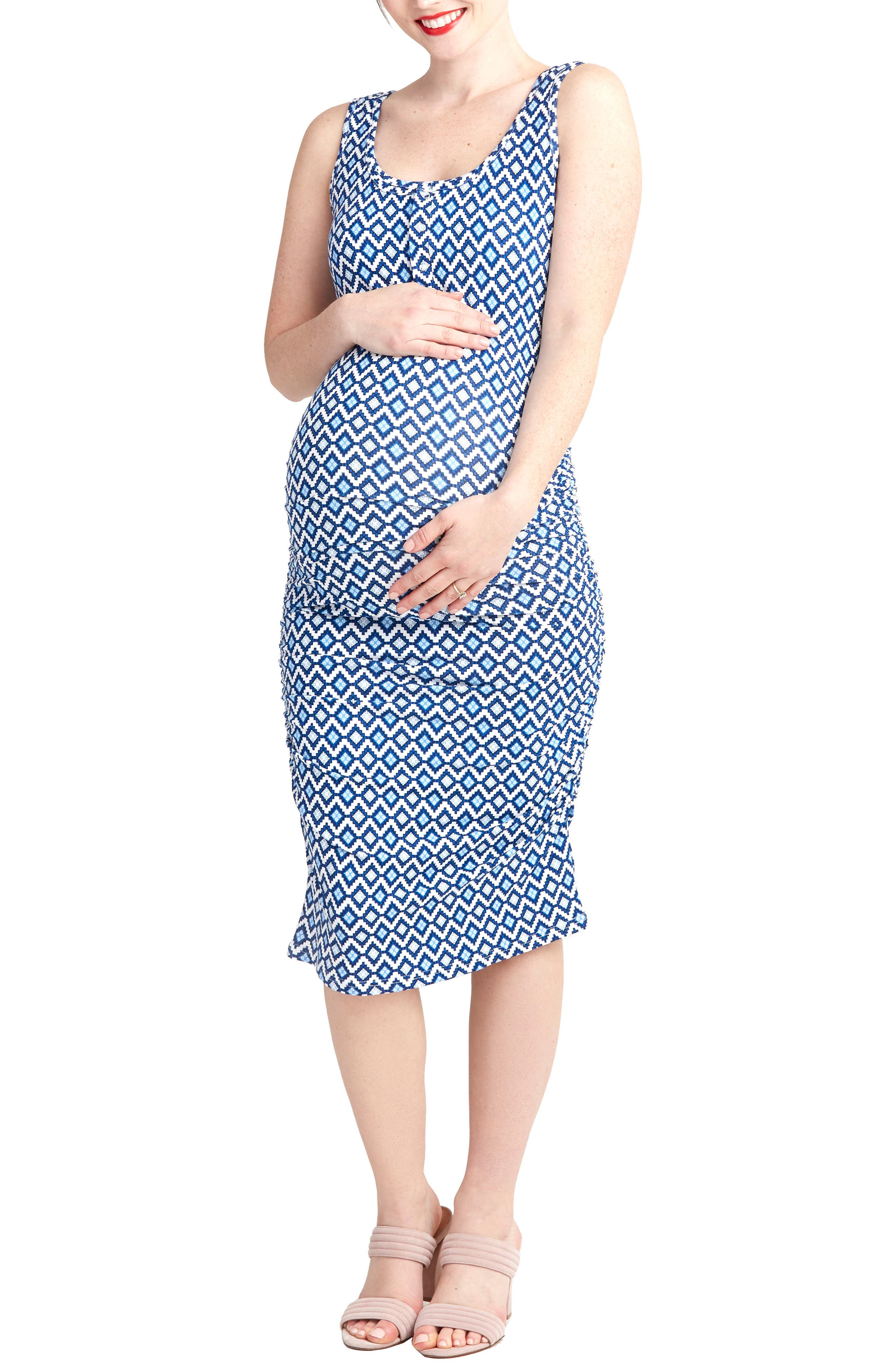 Sleeveless Maternity/Nursing Dress,                         Main,                         color, Blue Geo
