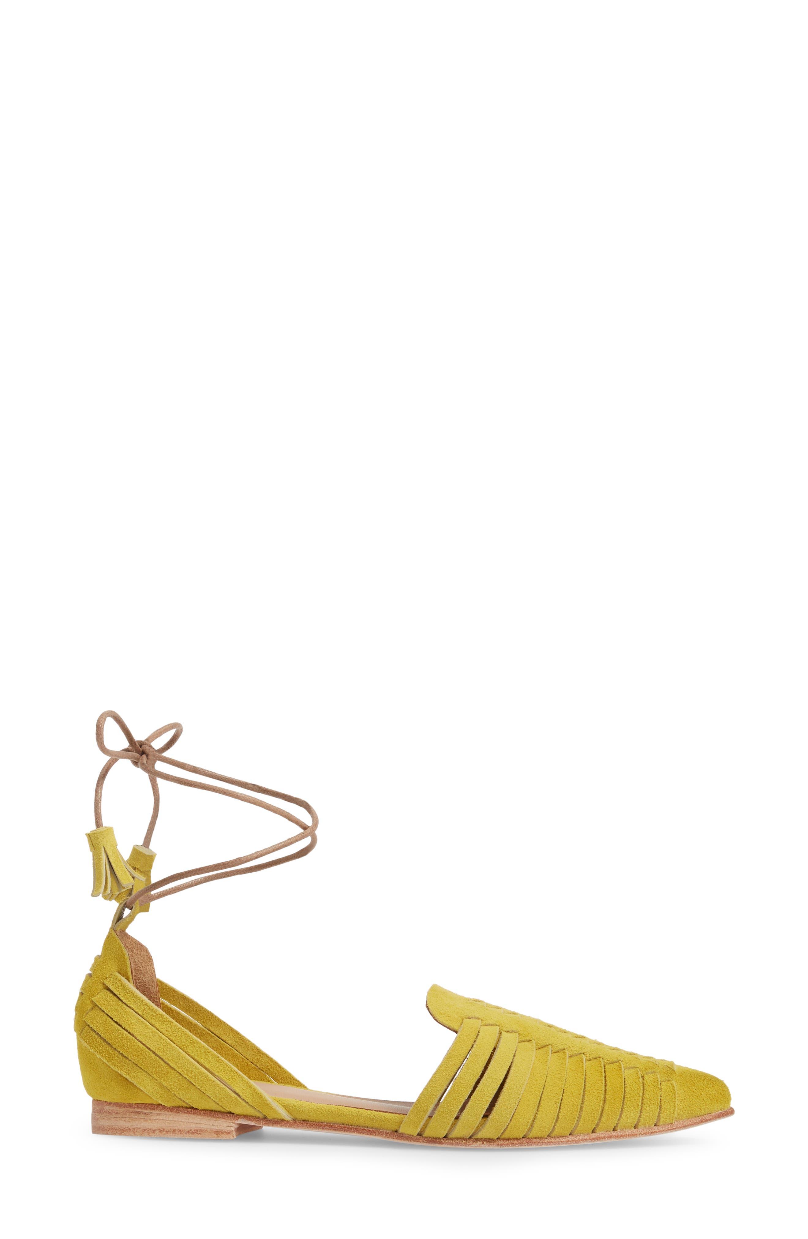 Hollis Huarache Ankle Tie Flat,                             Alternate thumbnail 3, color,                             Citron Suede