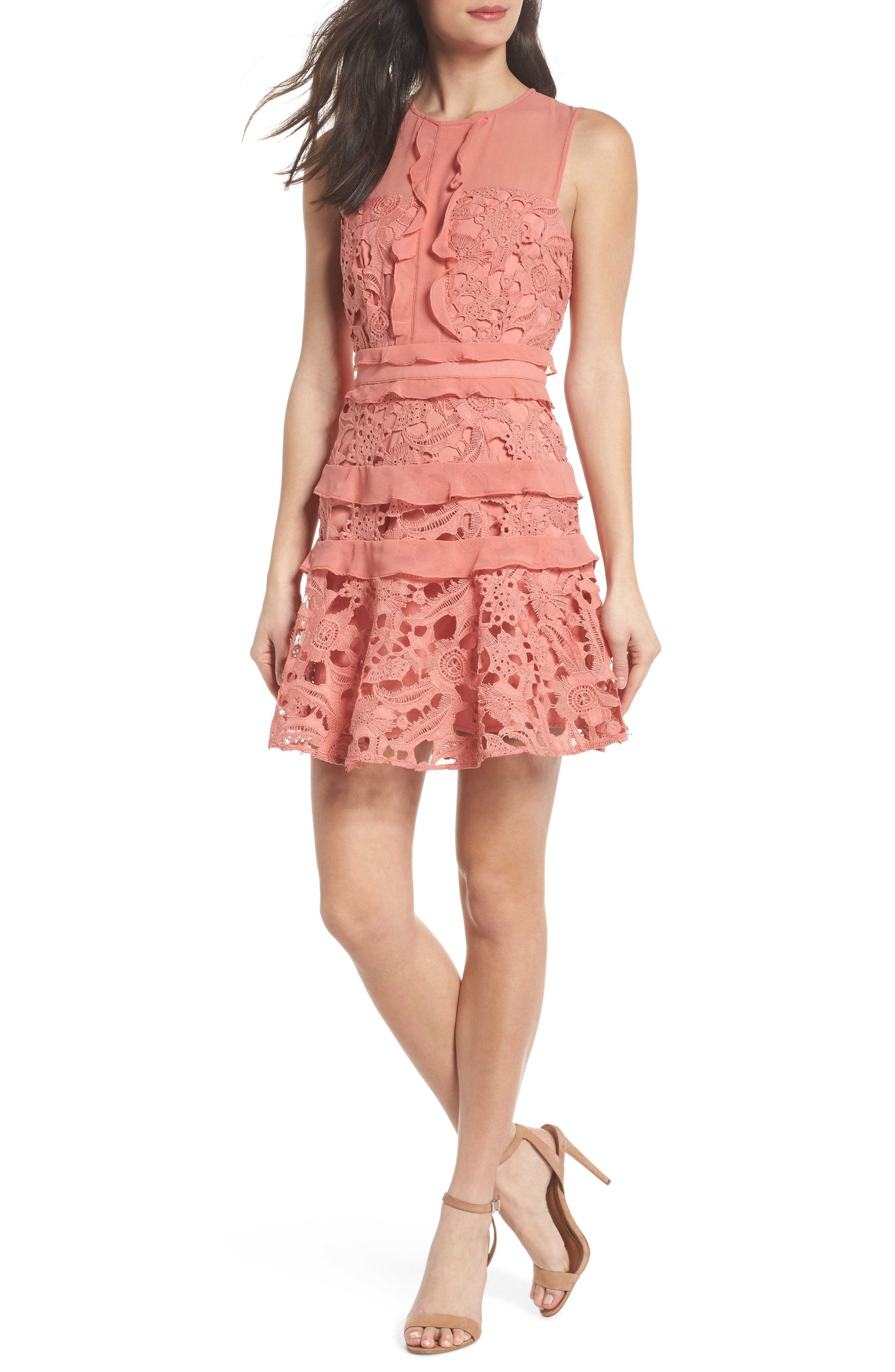 Lace Parfait Minidress,                         Main,                         color, Dusty Rose
