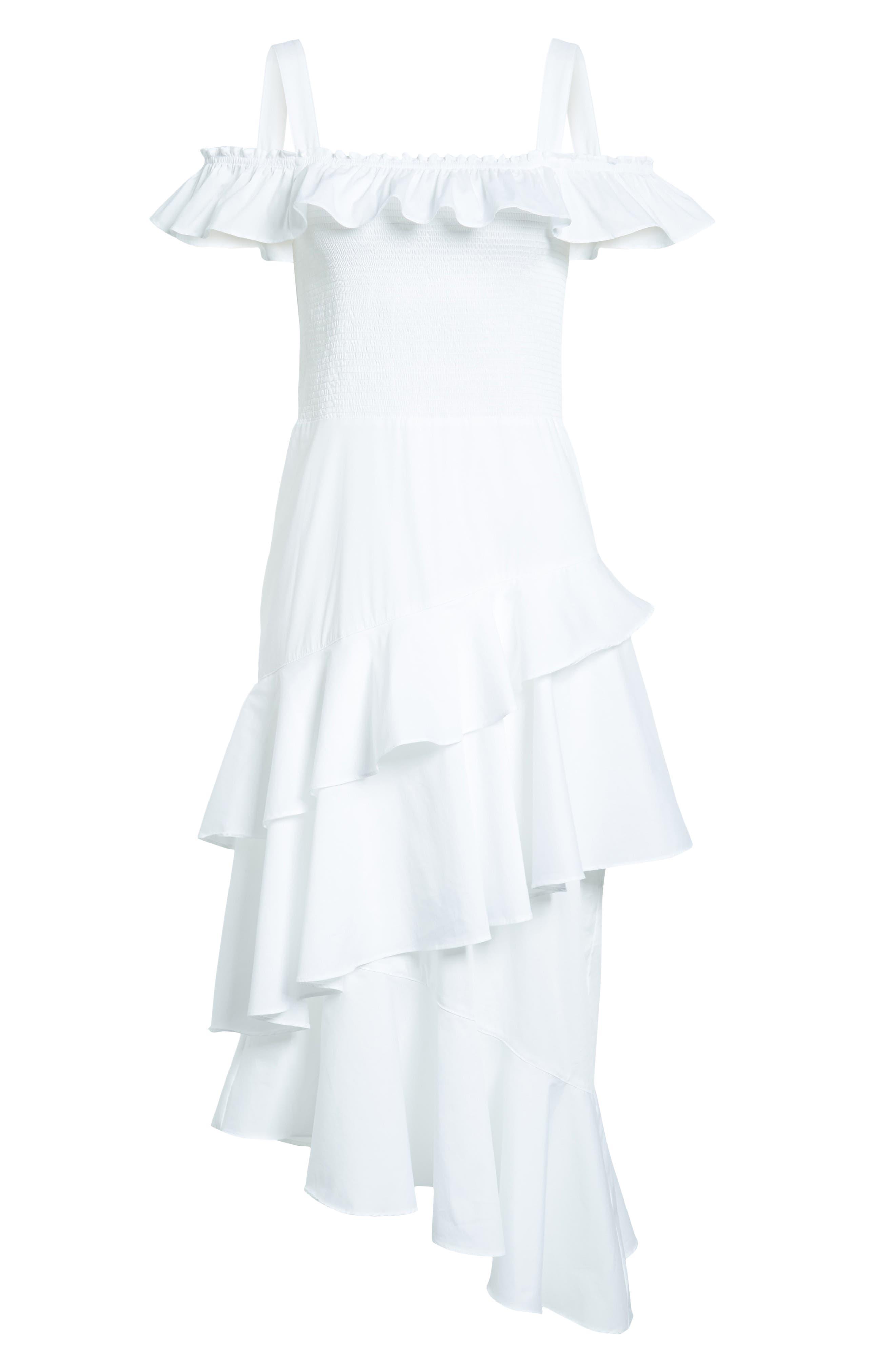 Ruffle Smocked Cold Shoulder Dress,                             Alternate thumbnail 6, color,                             White
