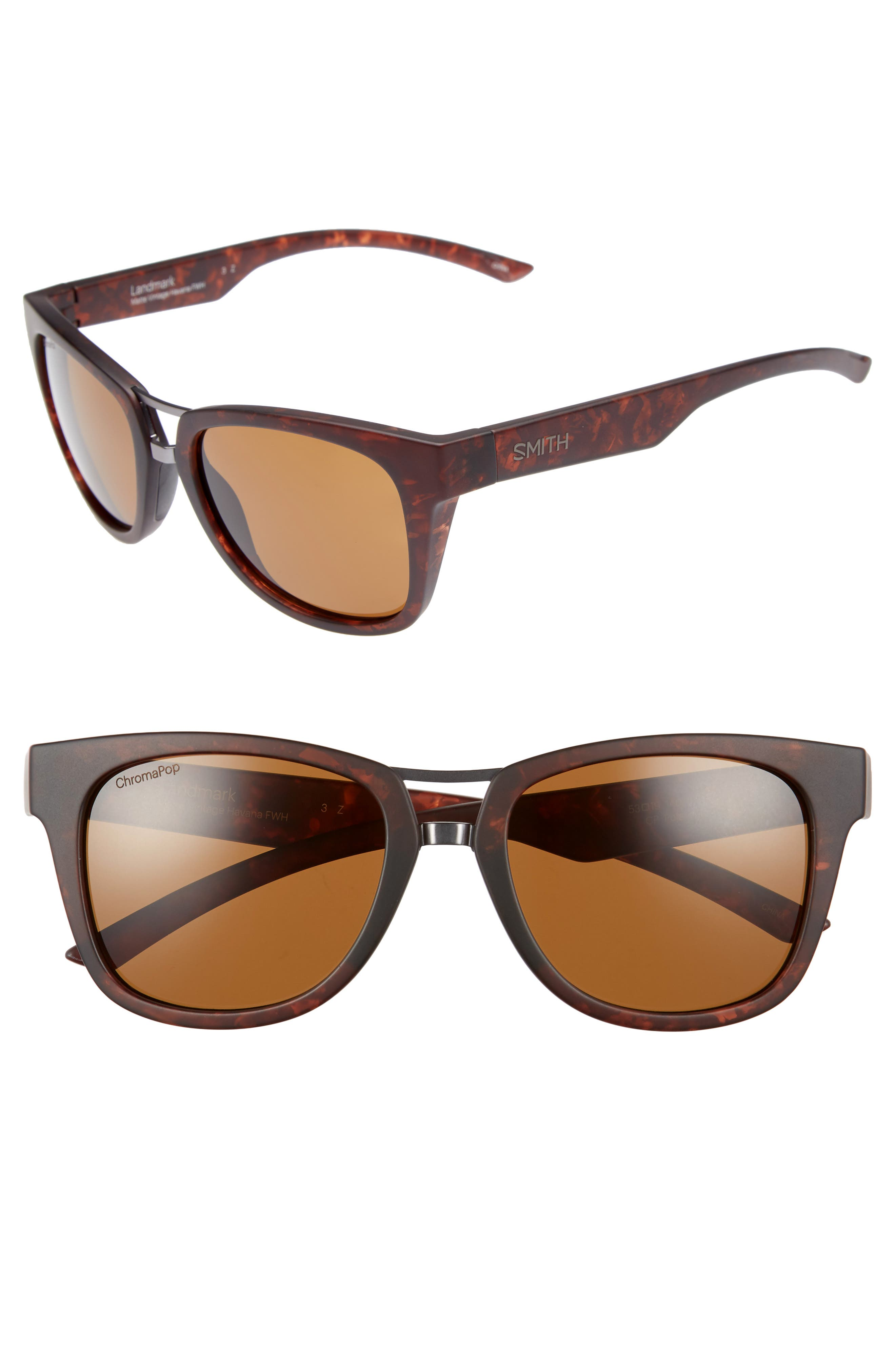 SMITH LANDMARK 53MM CHROMAPOP(TM) POLARIZED SUNGLASSES - MATTE VINTAGE HAVANA