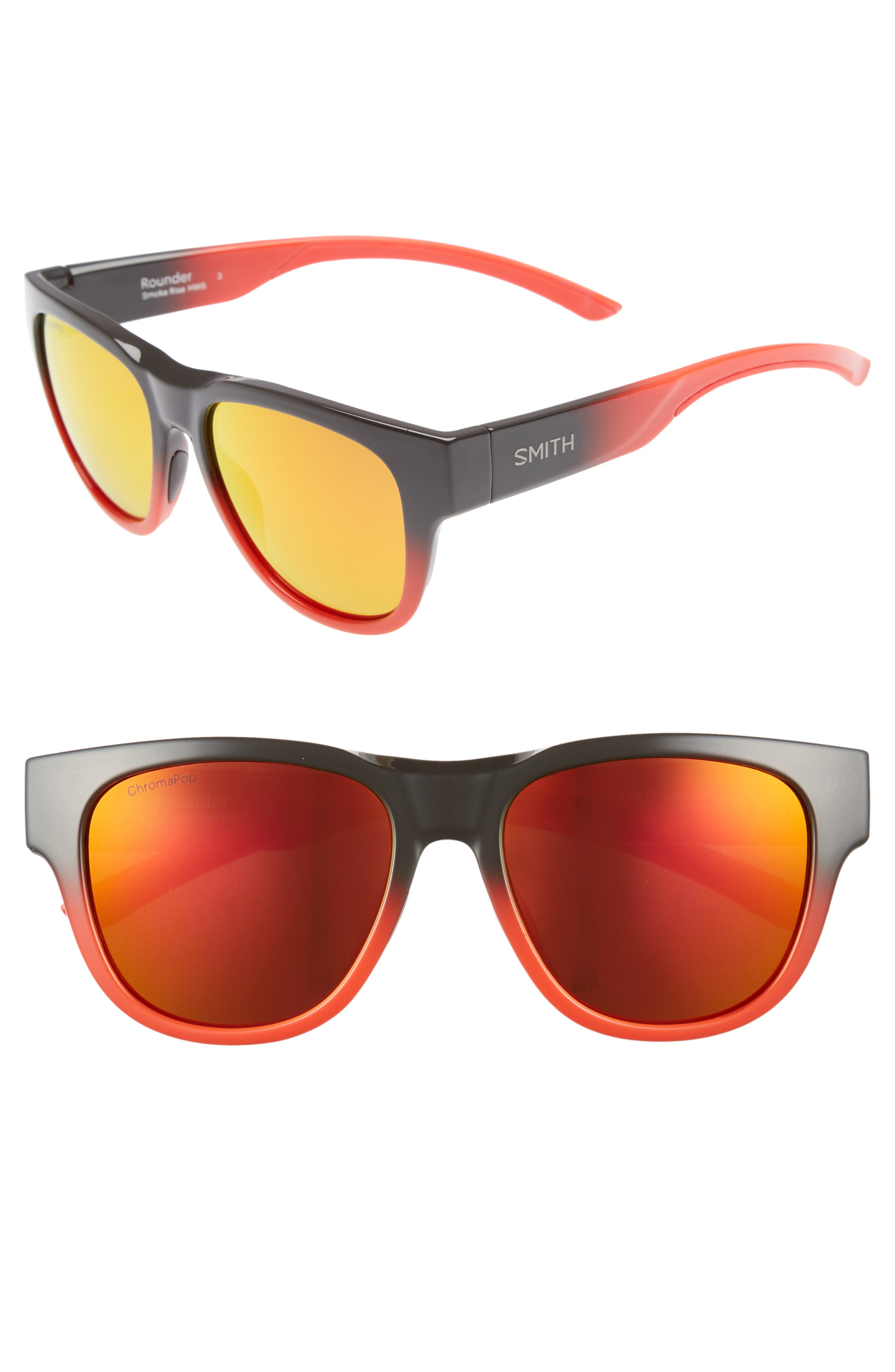 Rounder 52mm ChromaPop<sup>™</sup> Polarized Sunglasses,                         Main,                         color, Smoke Rise