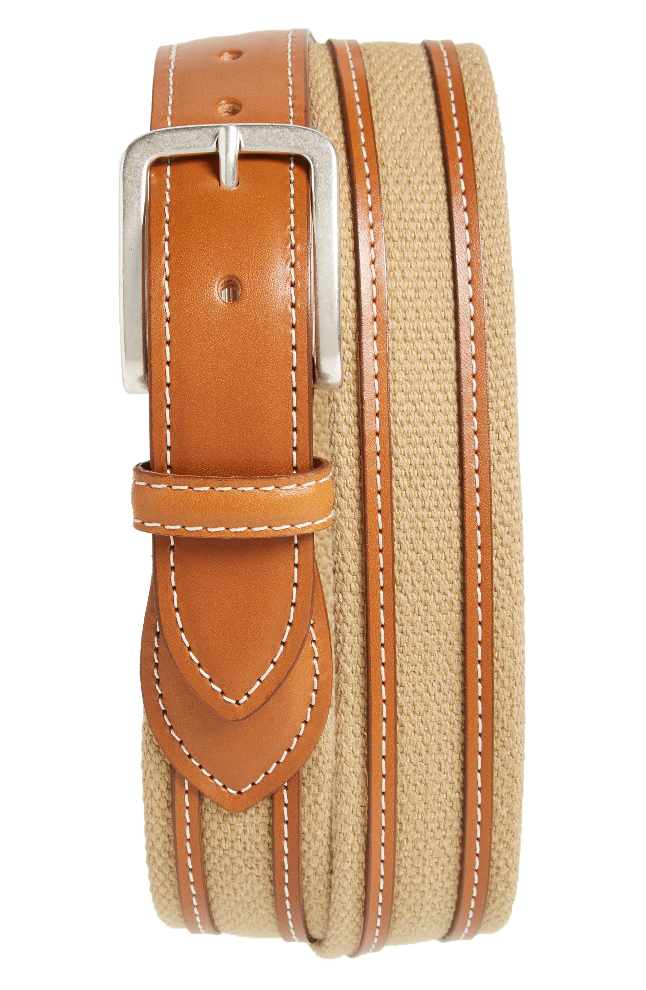 Canvas Strap Belt,                         Main,                         color, Khaki/ Walnut