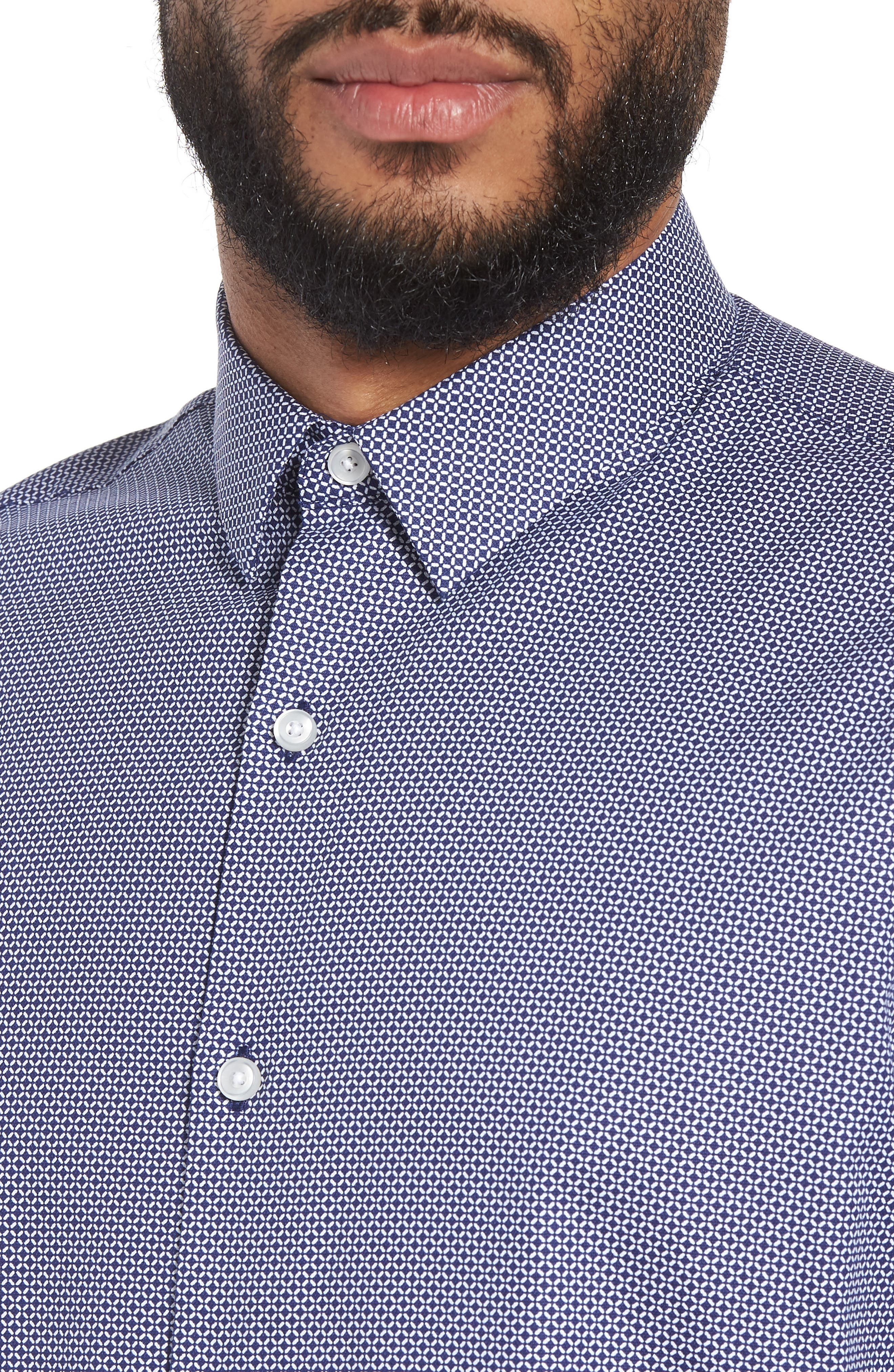 Trim Fit Micro Collar Sport Shirt,                             Alternate thumbnail 2, color,                             Navy White Geo