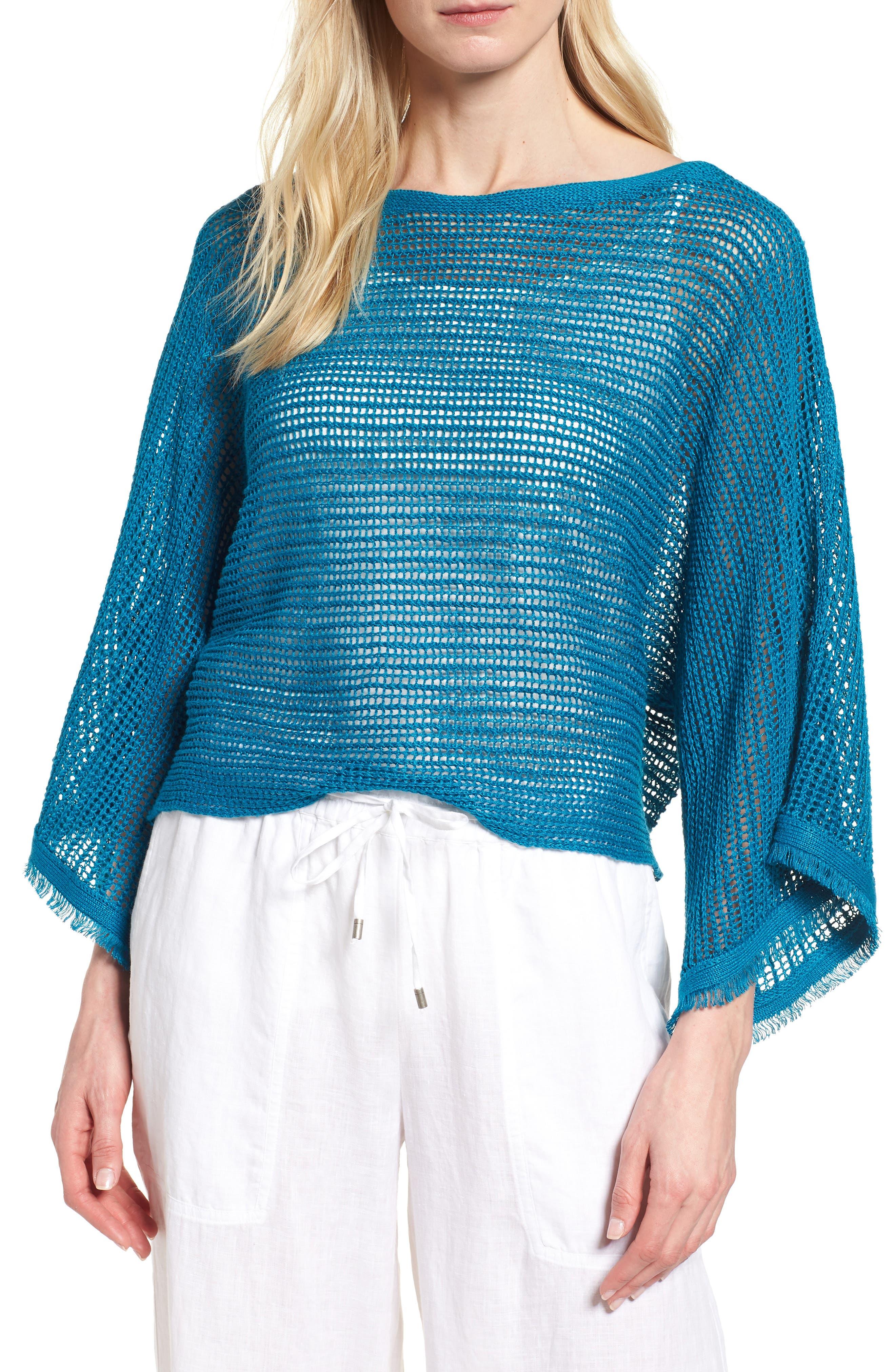 Organic Linen Short Sweater,                             Main thumbnail 1, color,                             Jewel