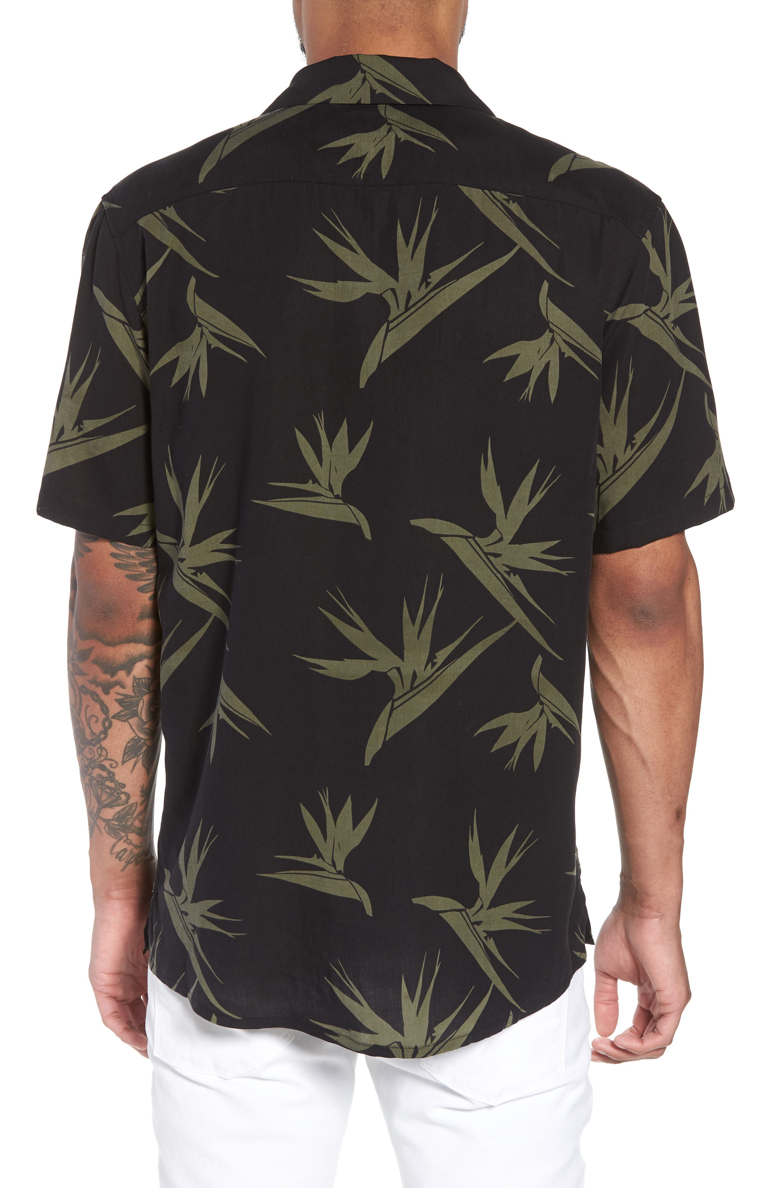 Hudson Regular Fit Print Short Sleeve Sport Shirt,                             Alternate thumbnail 3, color,                             Birds Of Paradise Black