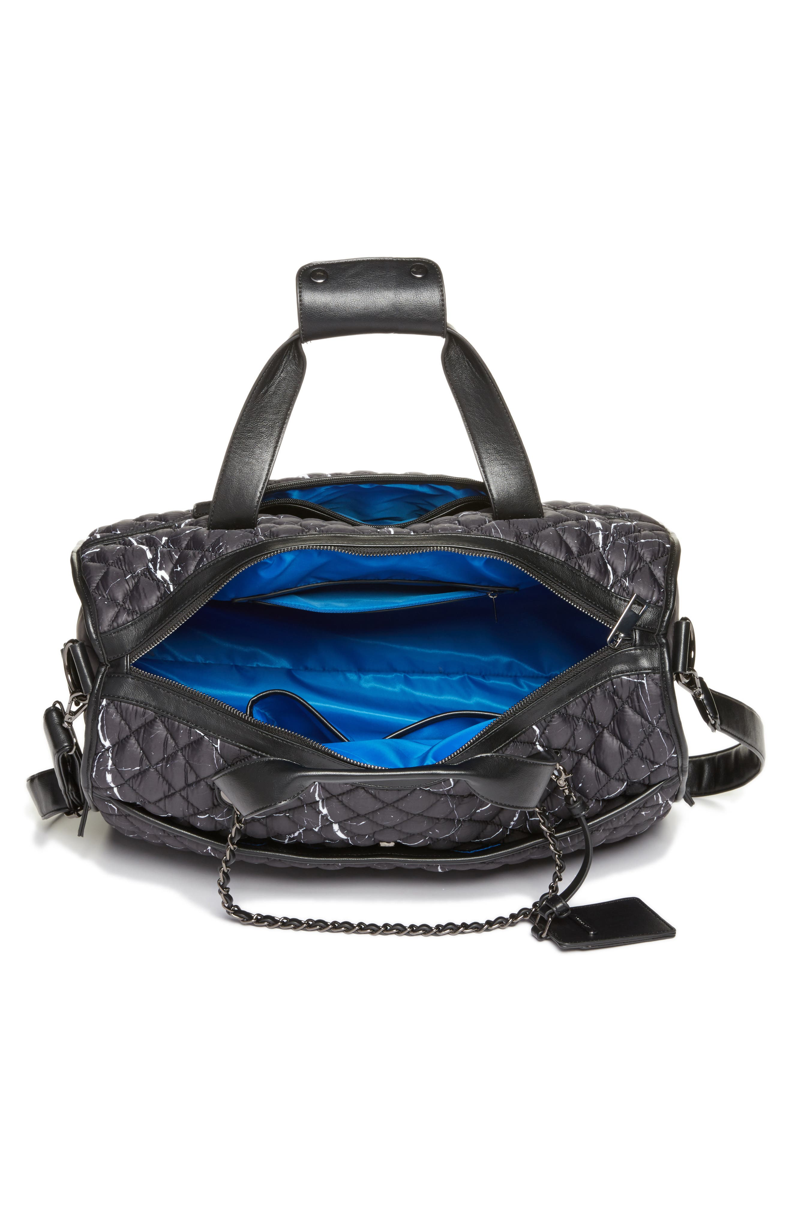Mara Quilted Duffel Bag,                             Alternate thumbnail 4, color,                             Black Marble