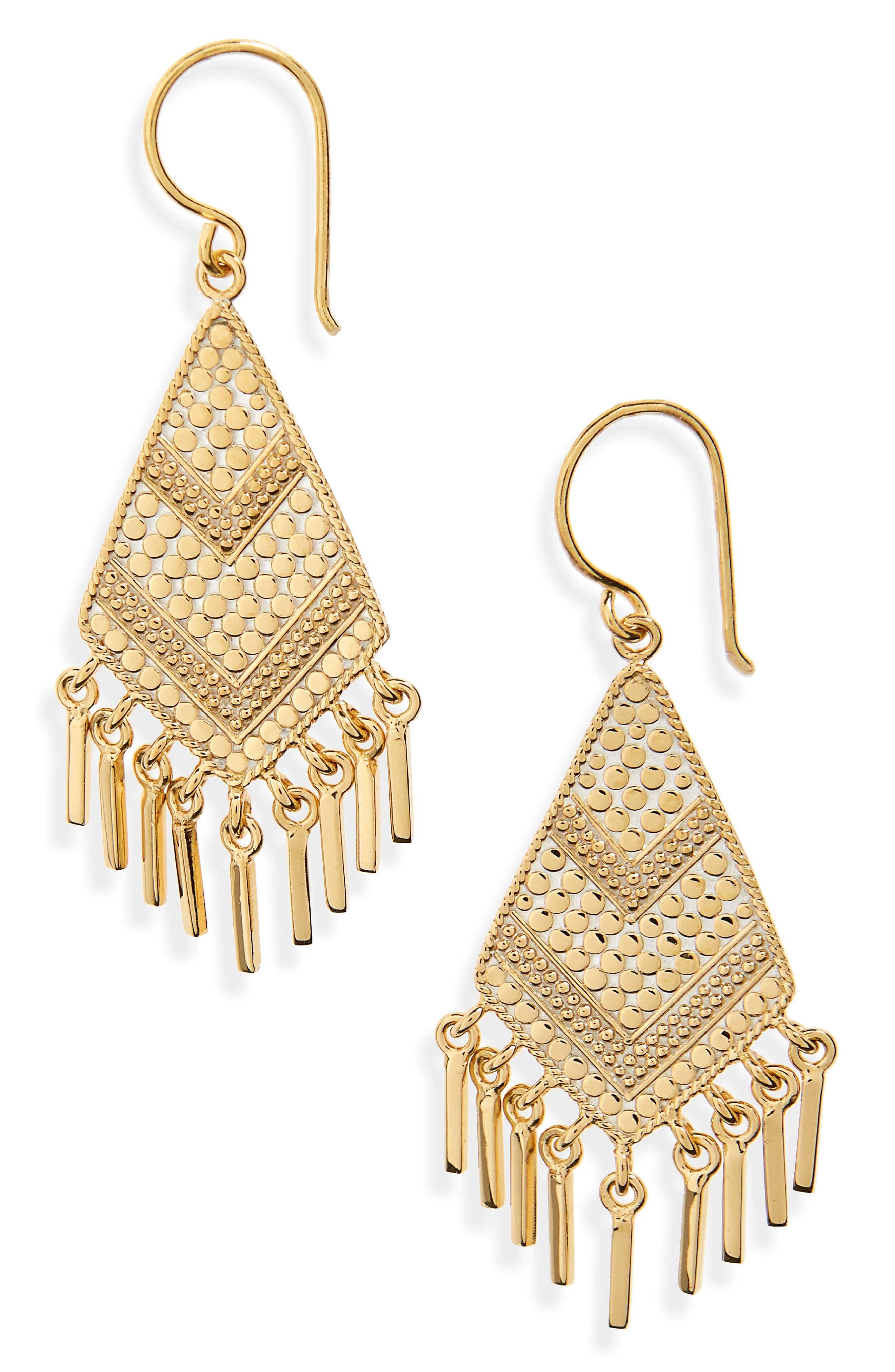 Kite Fringe Drop Earrings,                             Main thumbnail 1, color,                             Gold