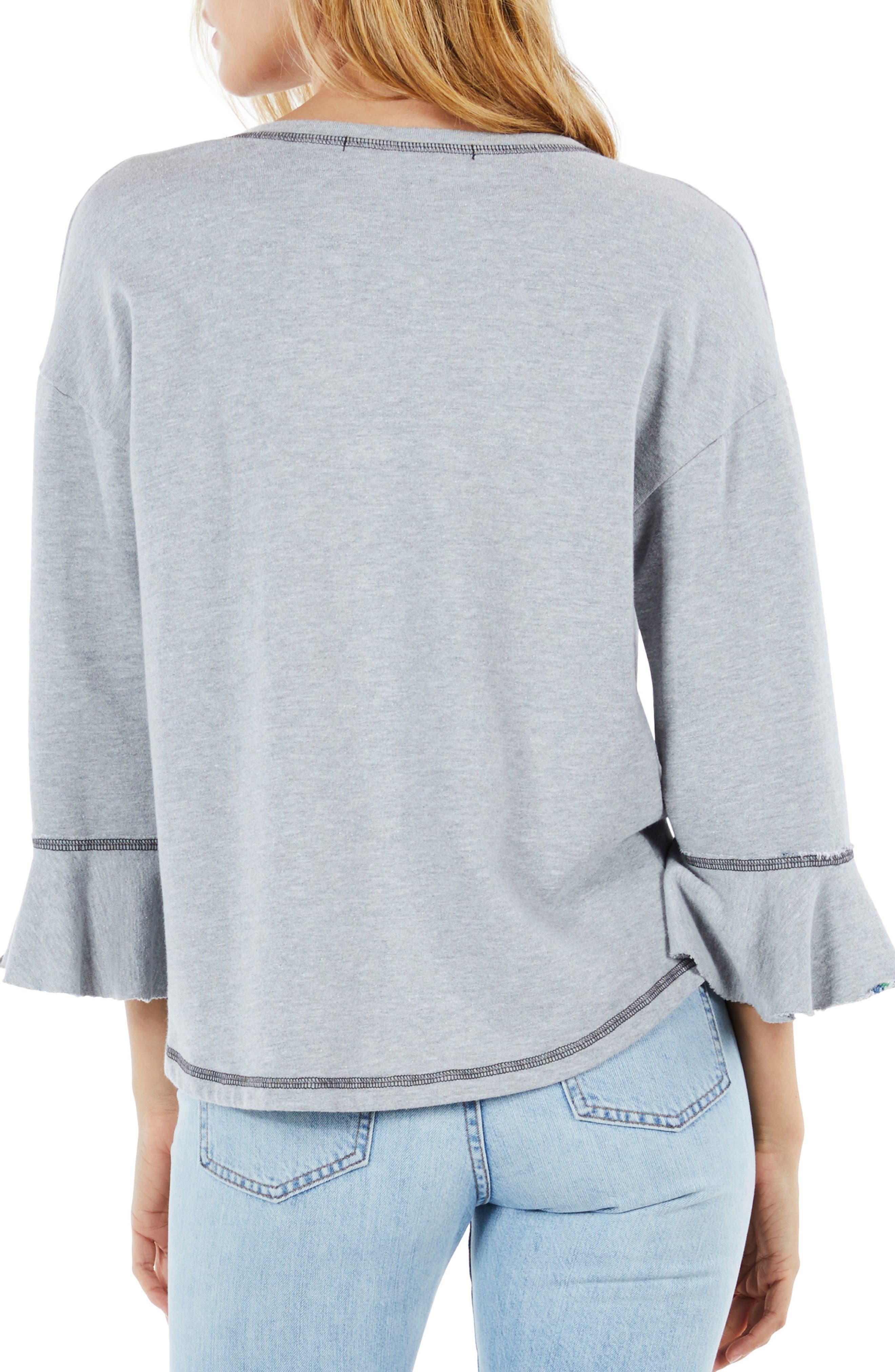 Ruffle Sleeve Reversible Sweatshirt,                             Alternate thumbnail 3, color,                             Heather Grey
