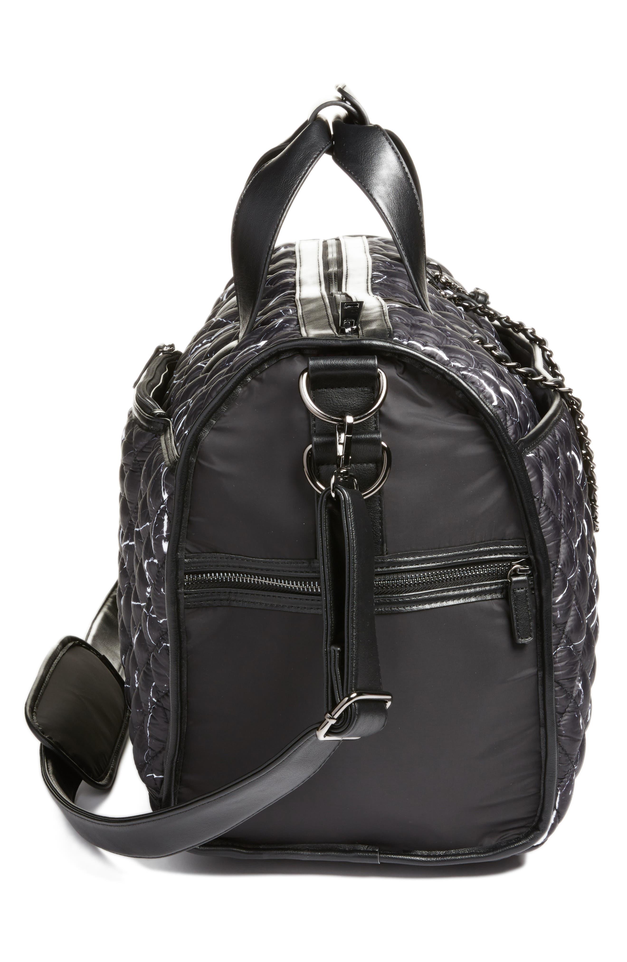 Mara Quilted Duffel Bag,                             Alternate thumbnail 5, color,                             Black Marble