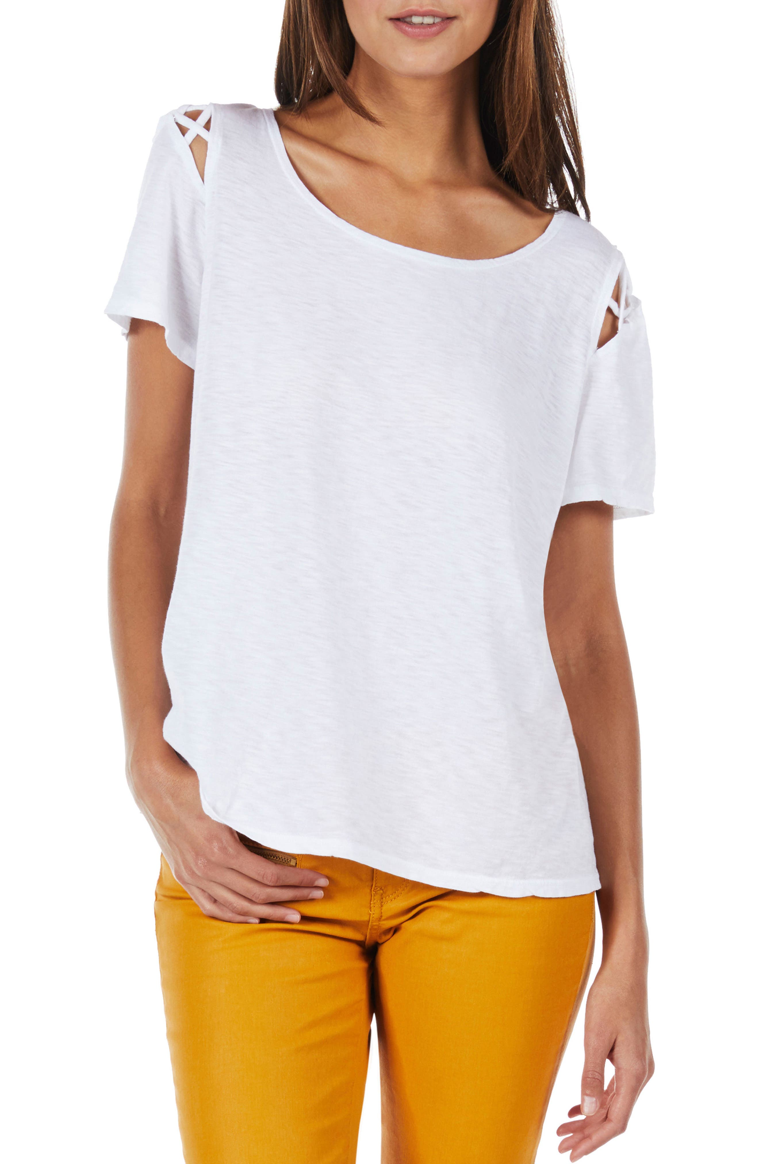 Crisscross Detail Swing Tee,                         Main,                         color, White