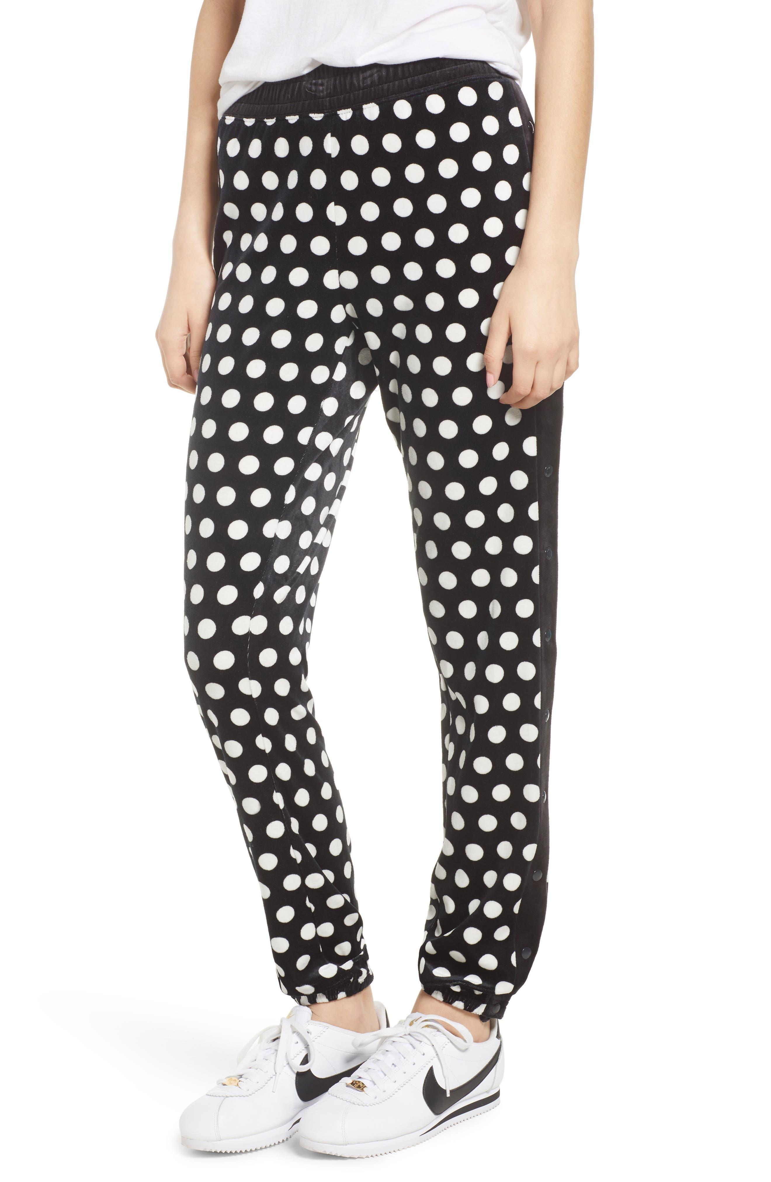 Polka Dot Velour Track Pants,                         Main,                         color, Pitch Black St. Germain Dot