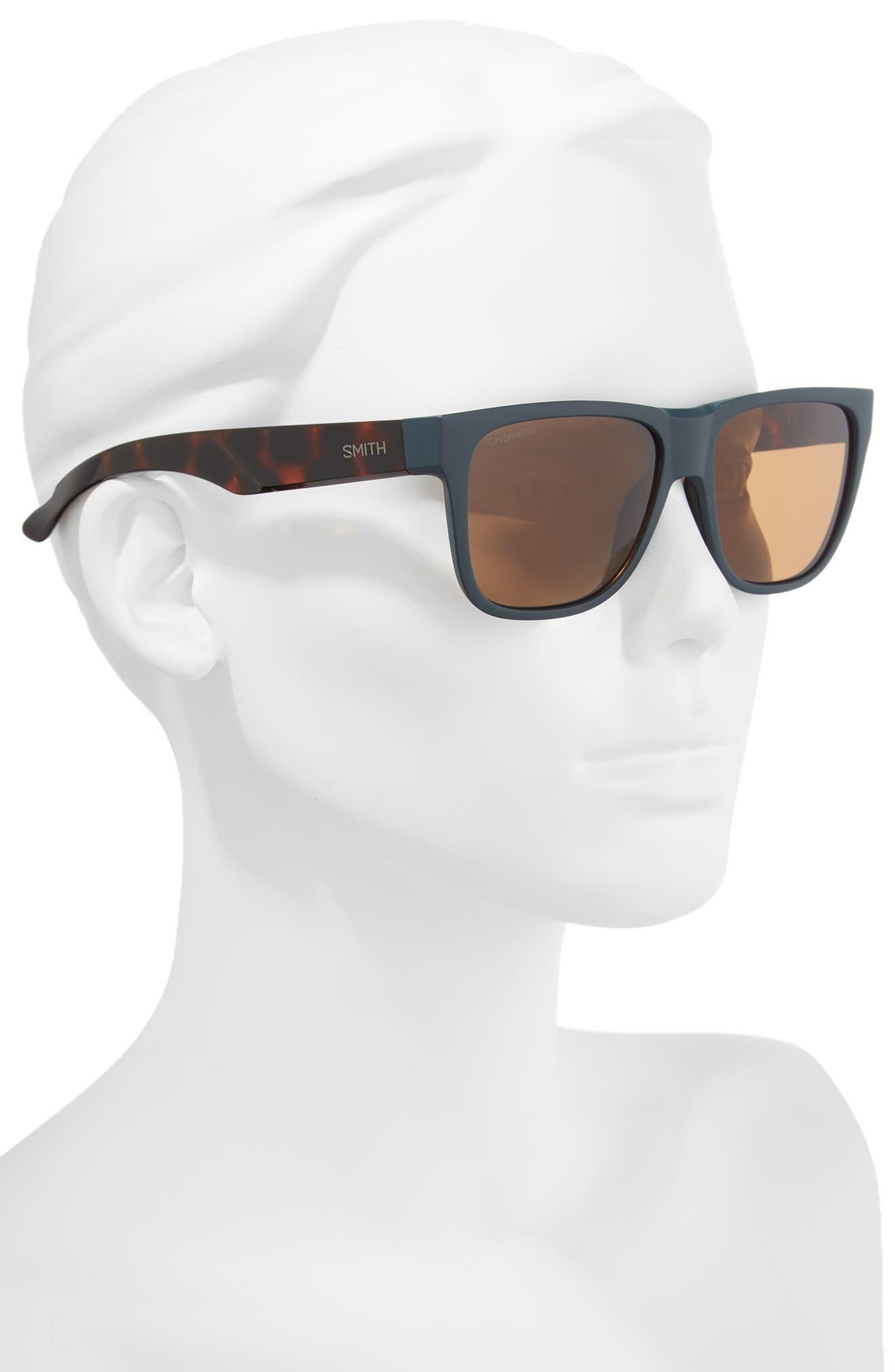 Lowdown 2 55mm ChromaPop<sup>™</sup> Square Sunglasses,                             Alternate thumbnail 2, color,                             Matte Forest Tortoise
