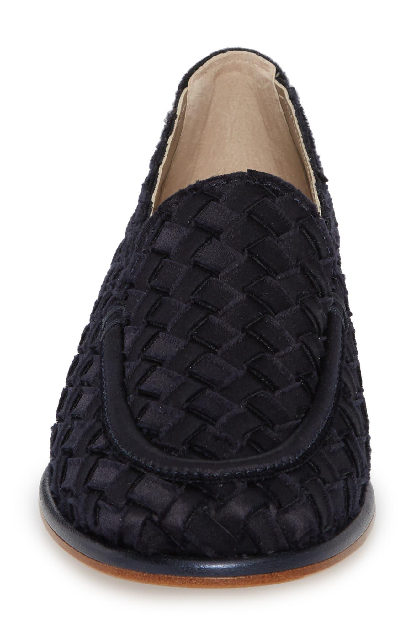 Woven Loafer,                             Alternate thumbnail 4, color,                             Blue Satin