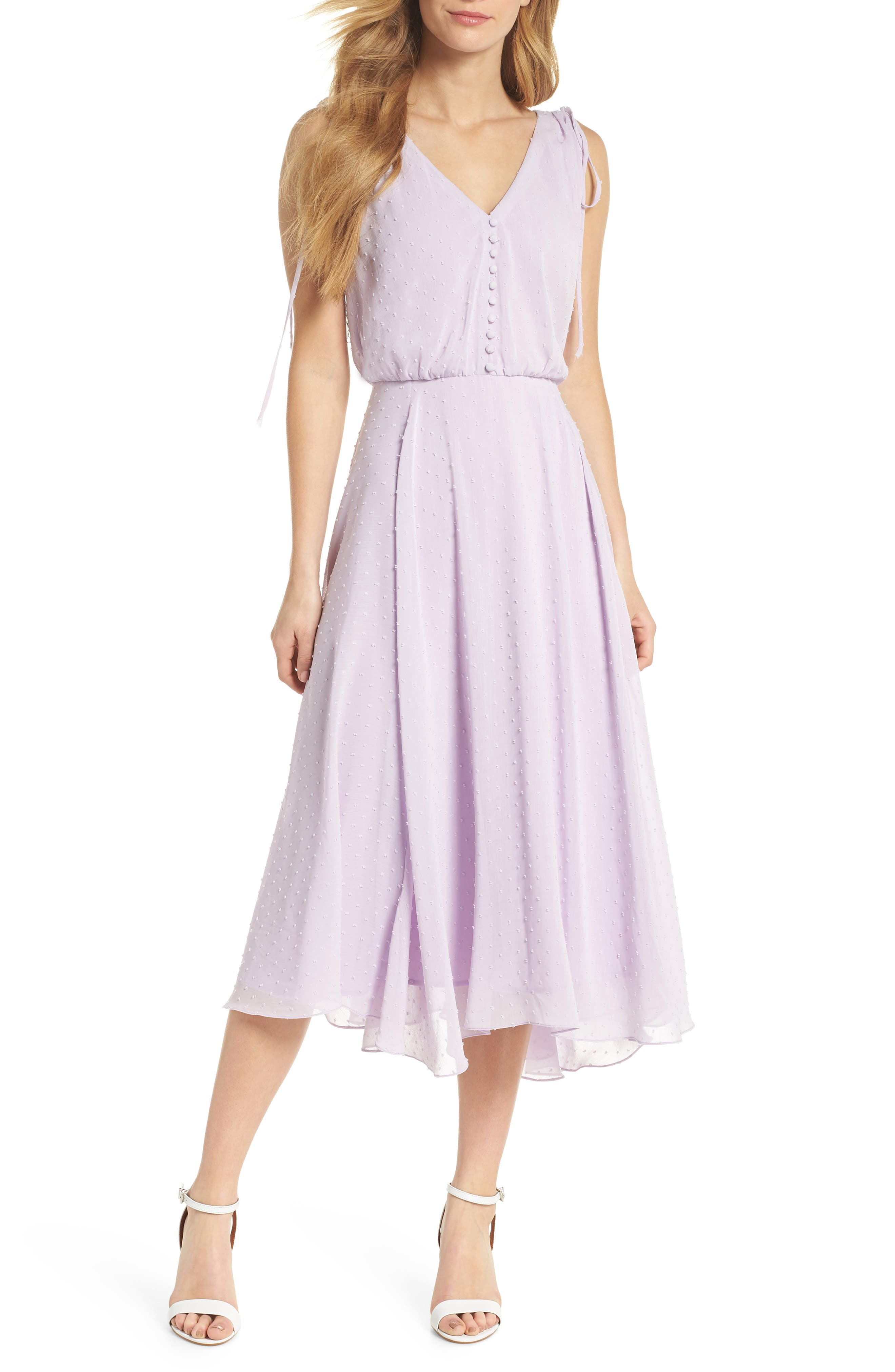 Gal Meets Glam Collection Clip Dot Chiffon Midi Dress