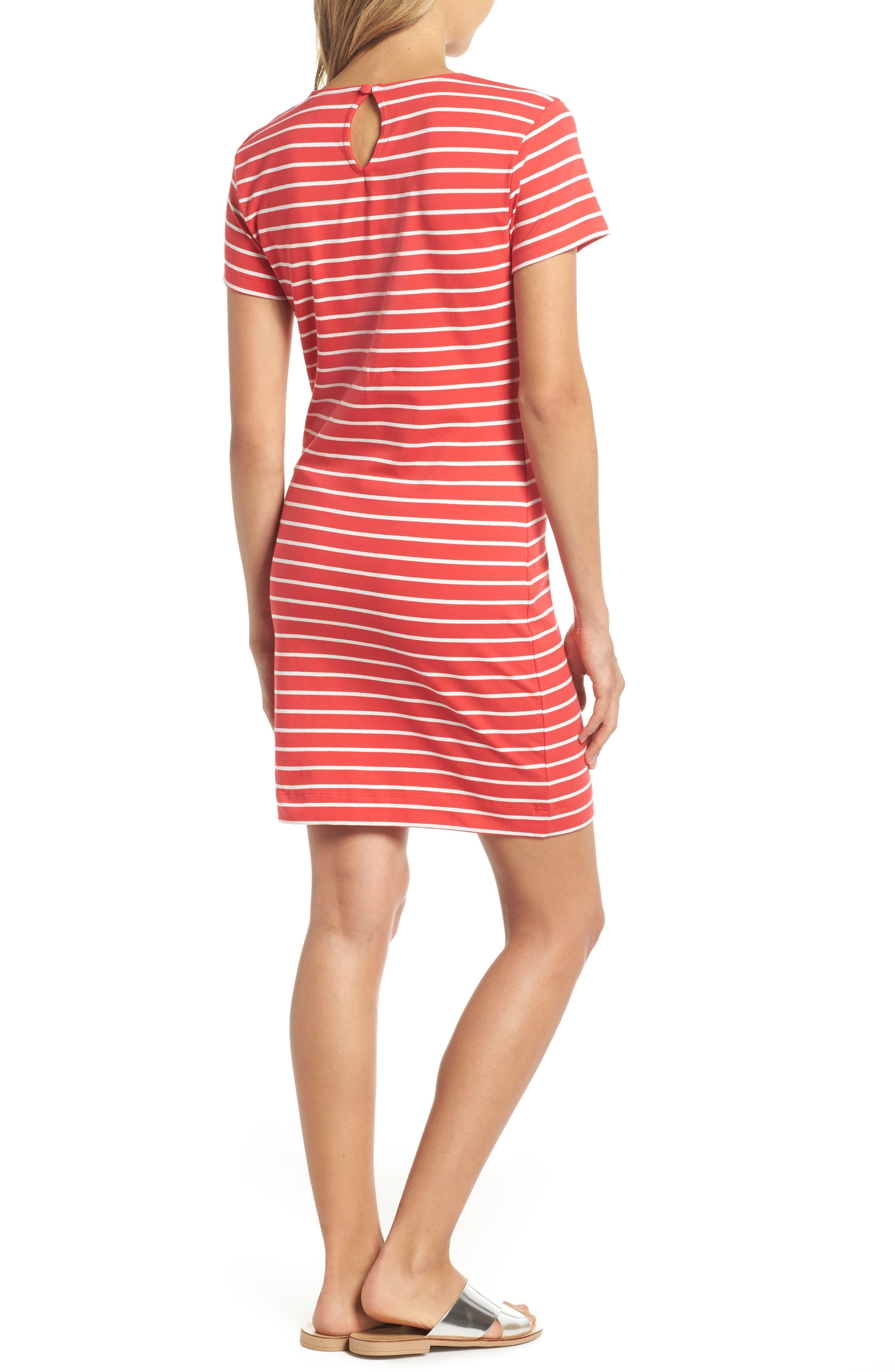 Knit Stripe Body-Con Dress,                             Alternate thumbnail 2, color,                             Shanghai Red/ Summer White