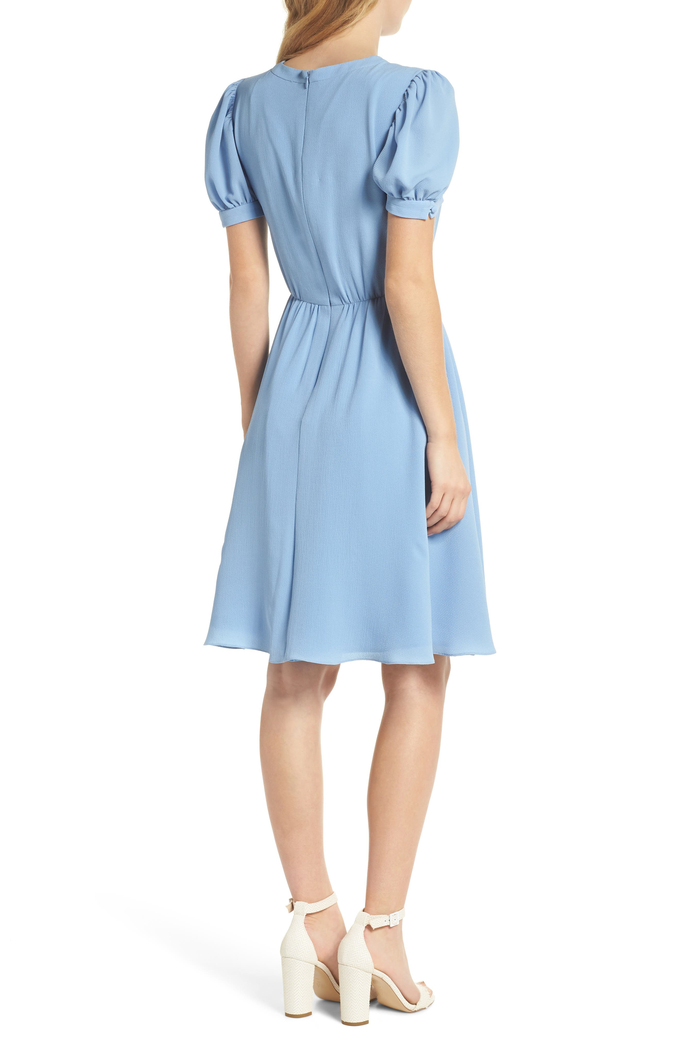 Ellie Crepe Puff Sleeve Dress,                             Alternate thumbnail 3, color,                             Sky Blue