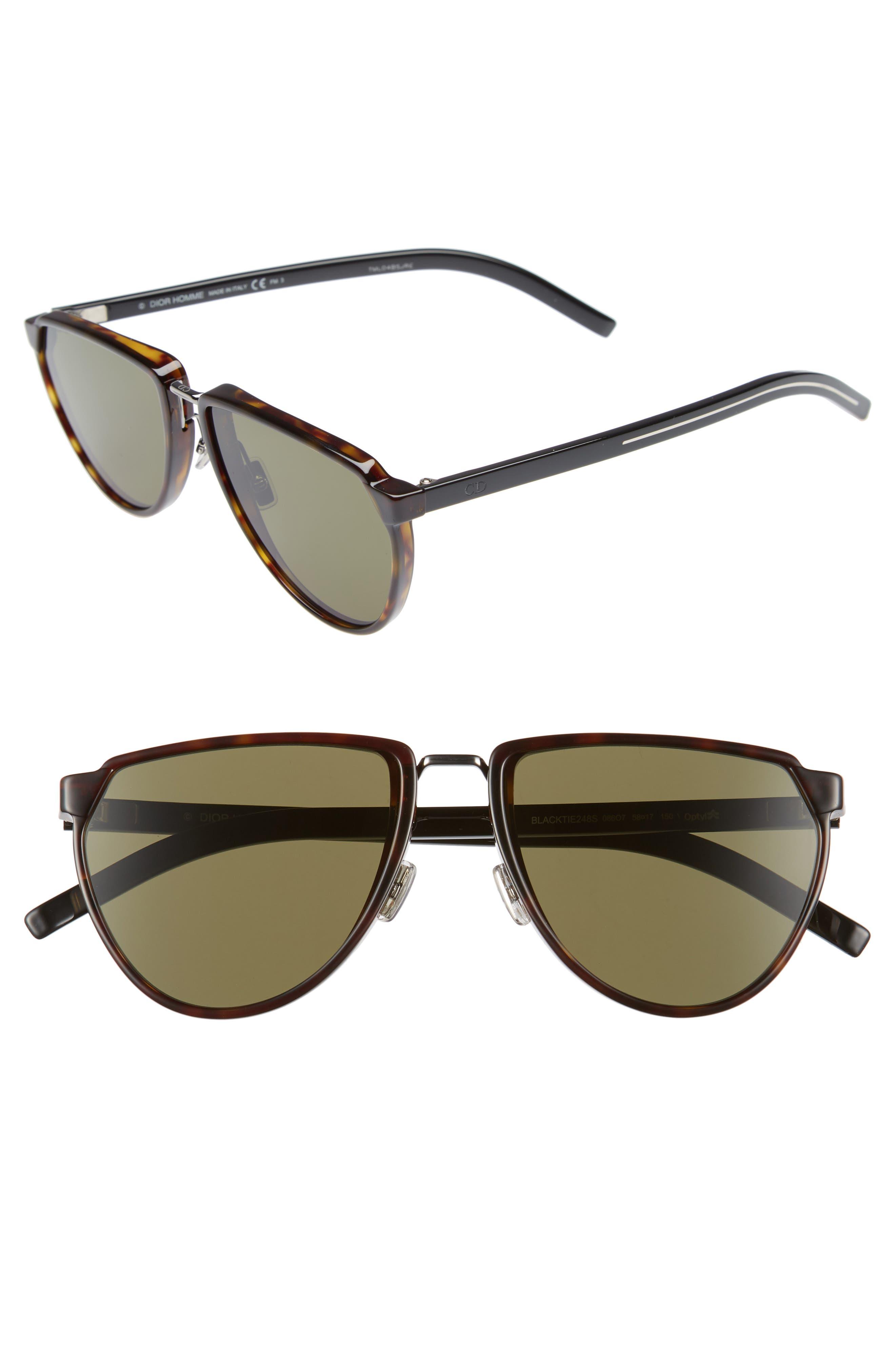 DIOR HOMME 58Mm Sunglasses - Dark Havana