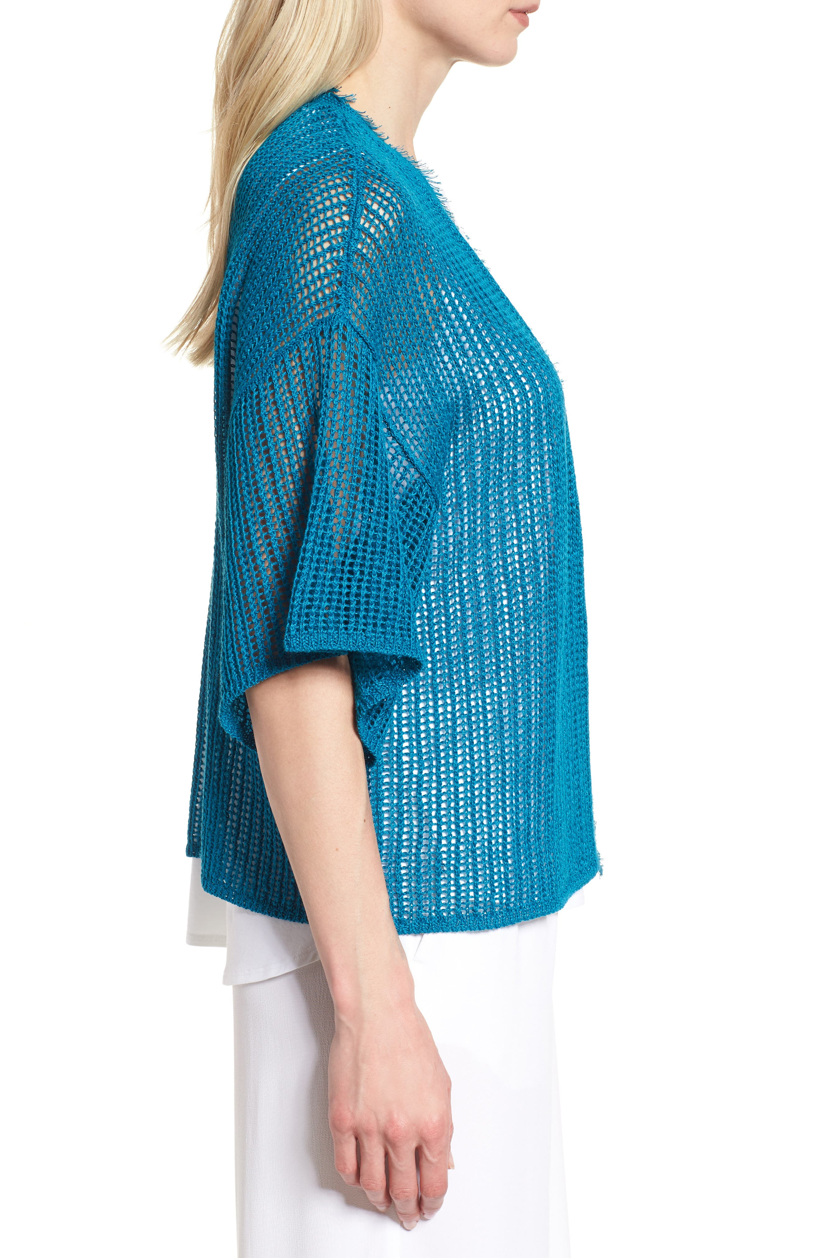 Short Organic Linen Cardigan,                             Alternate thumbnail 3, color,                             Jewel