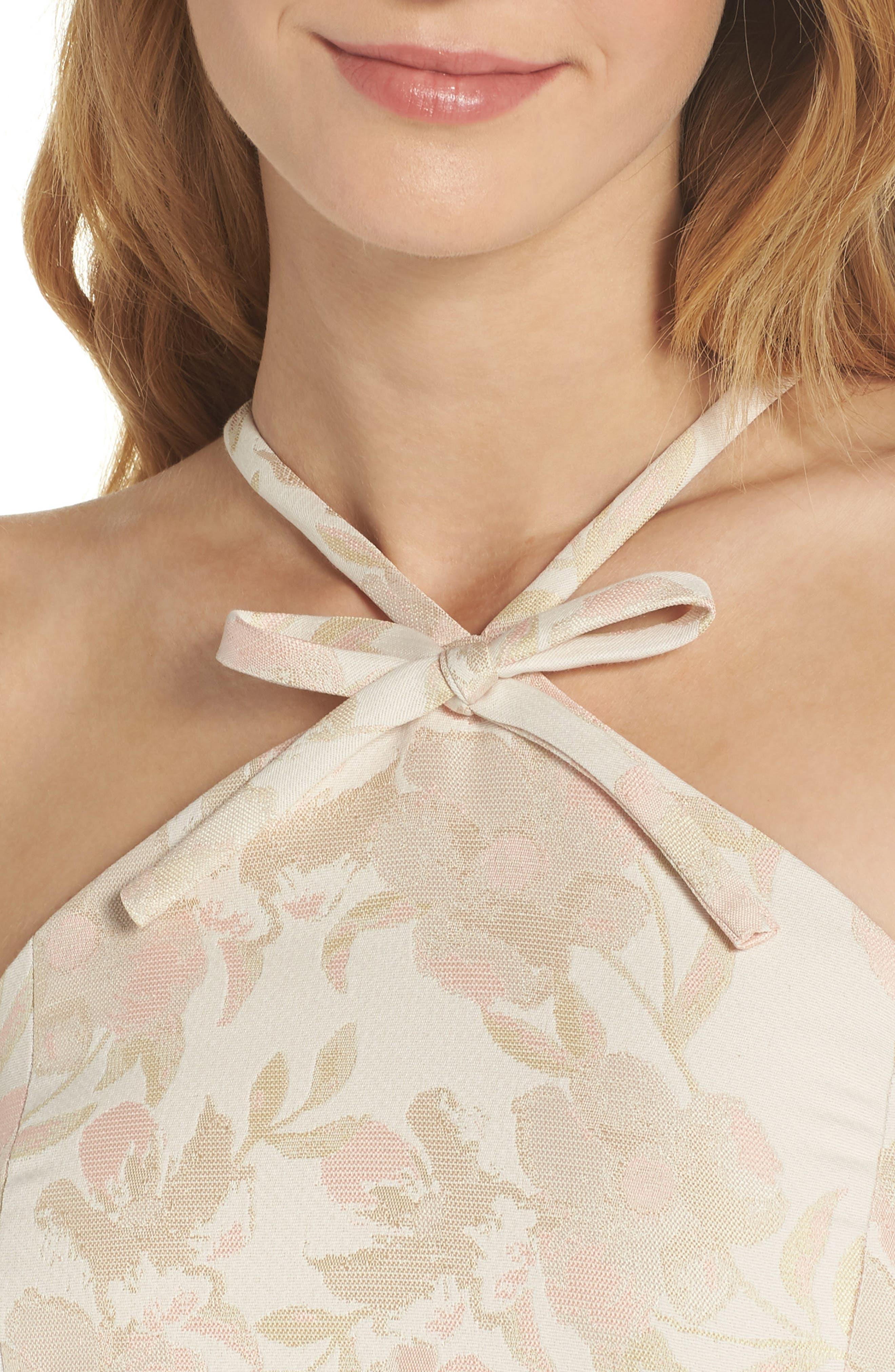 Evelyn Sea Holly Jacquard Halter Dress,                             Alternate thumbnail 6, color,                             Blush Combo
