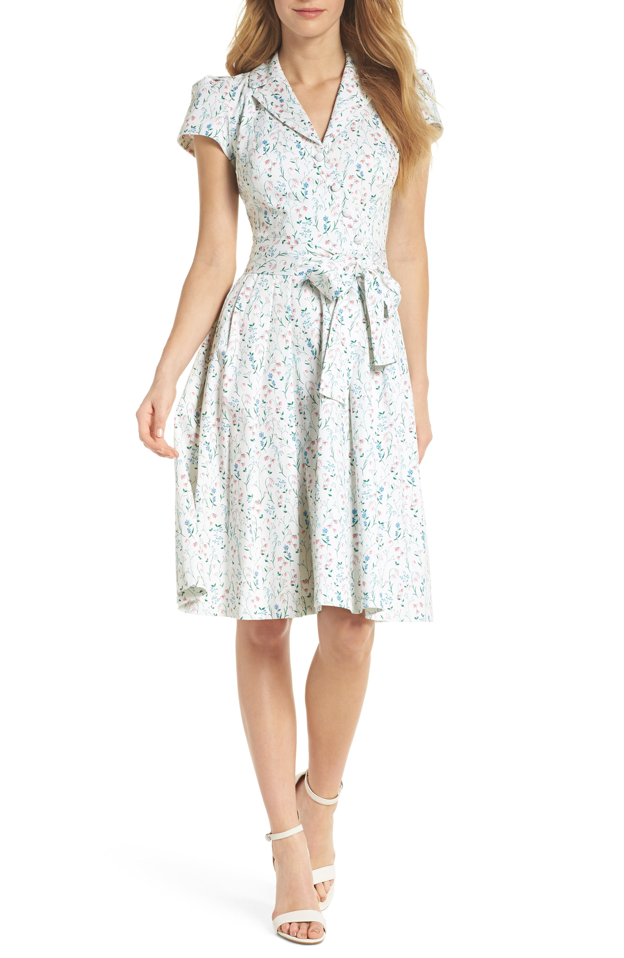 Anne Spring Sprig Print Wrap Style Dress,                             Main thumbnail 1, color,                             Pink