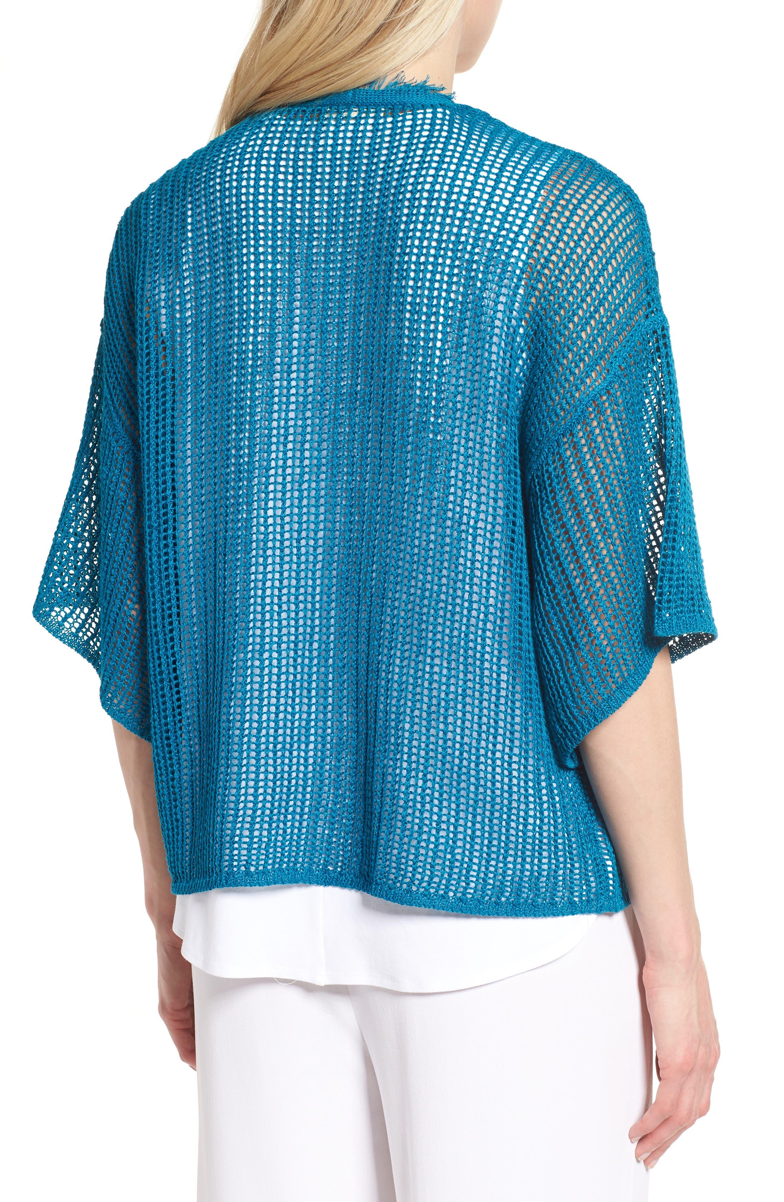 Short Organic Linen Cardigan,                             Alternate thumbnail 2, color,                             Jewel