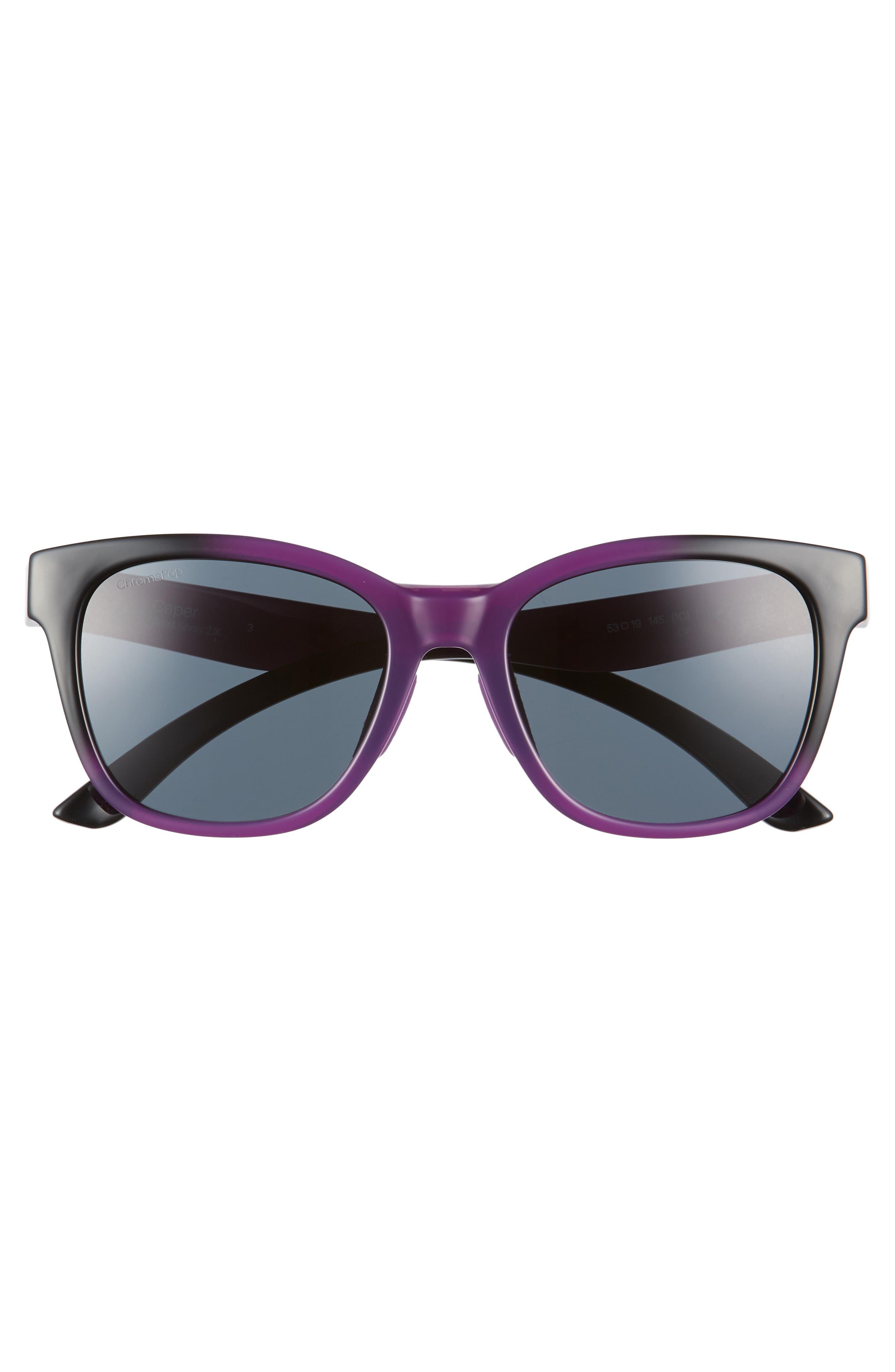 Caper 53mm ChromaPop<sup>™</sup> Square Sunglasses,                             Alternate thumbnail 3, color,                             Violet Spray