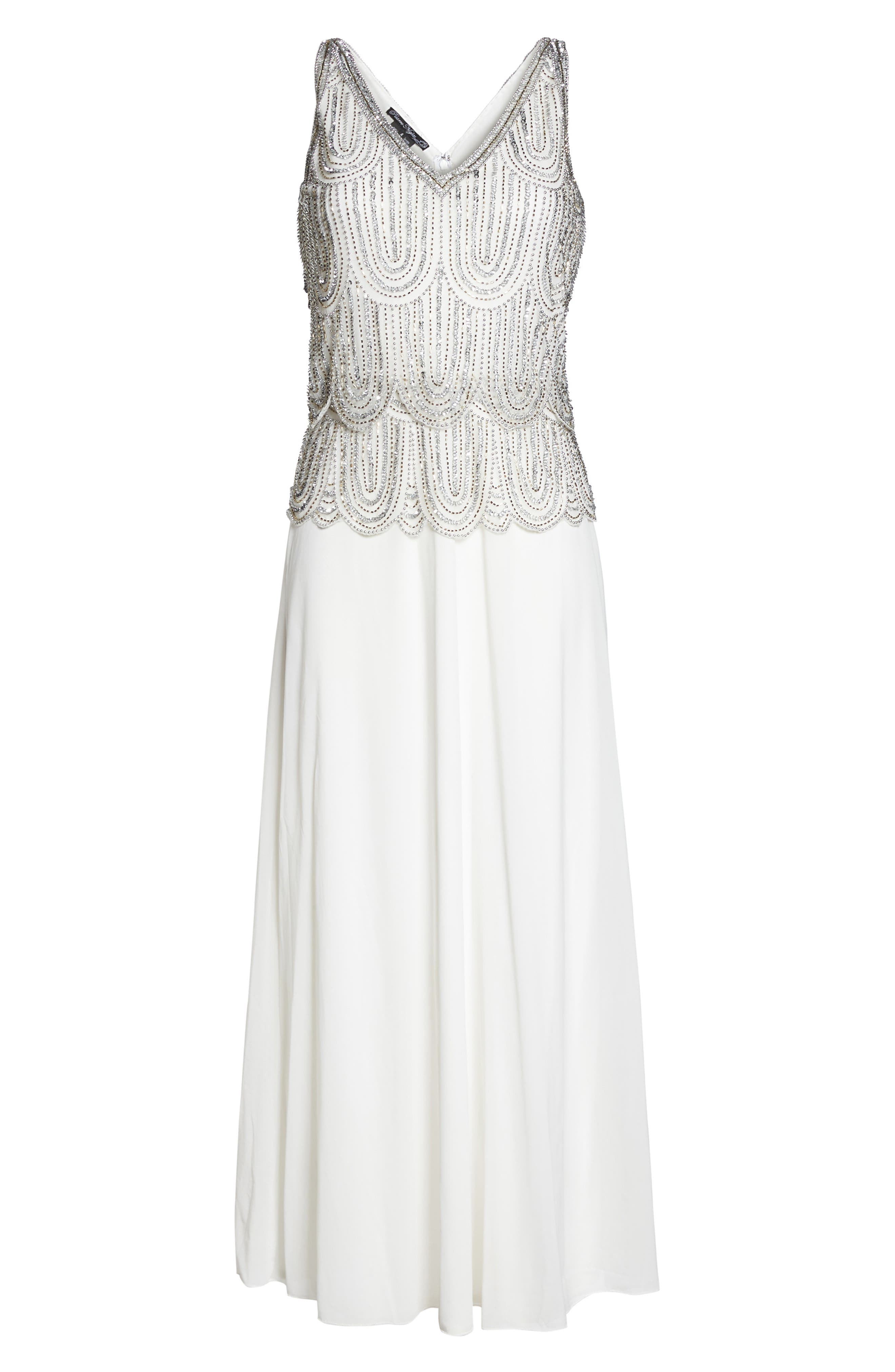 Beaded Mock Two-Piece A-Line Gown,                             Alternate thumbnail 6, color,                             Ivory
