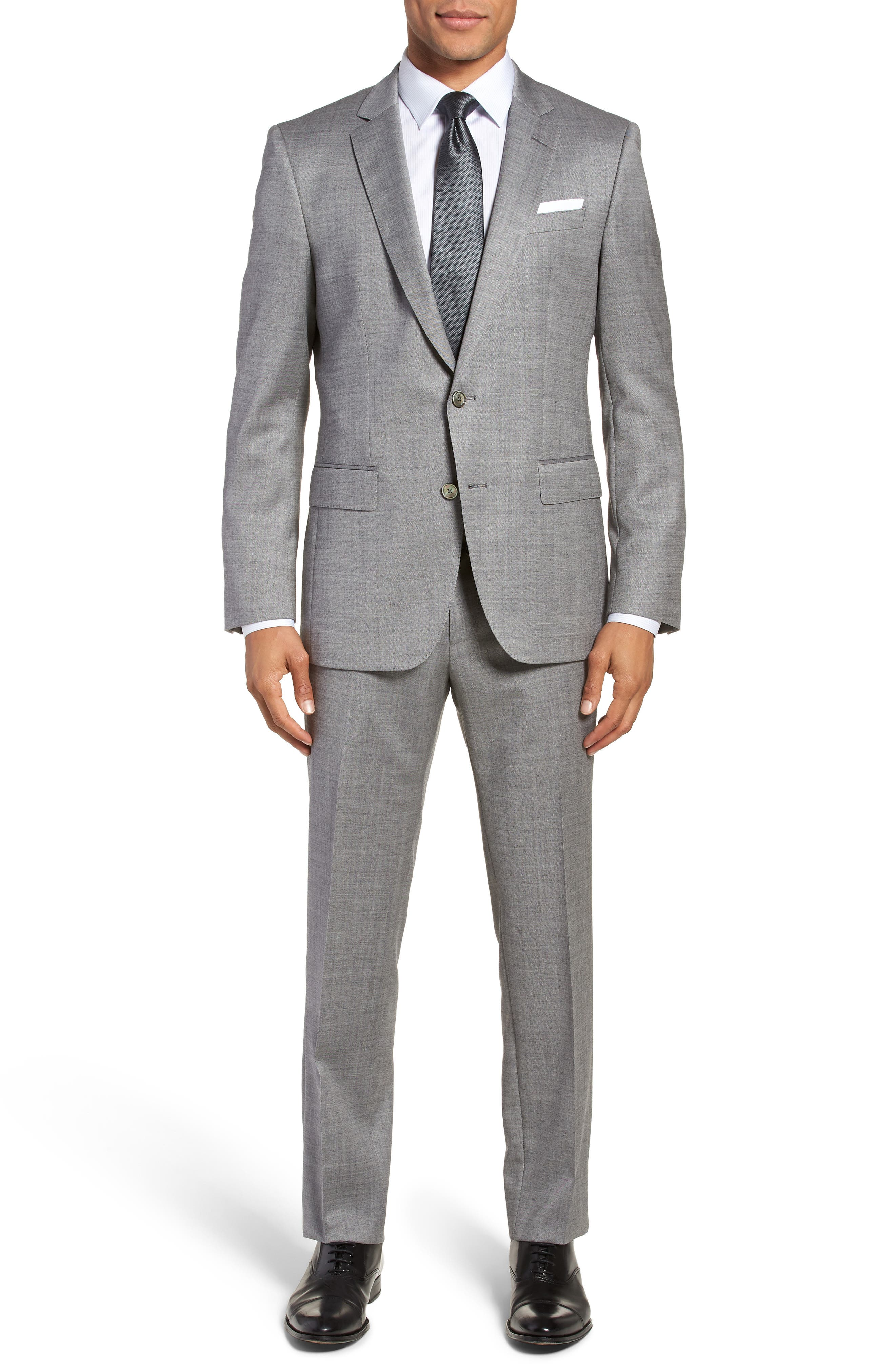 Hutsons/Gander Trim Fit Solid Wool & Silk Suit,                         Main,                         color, Light Grey
