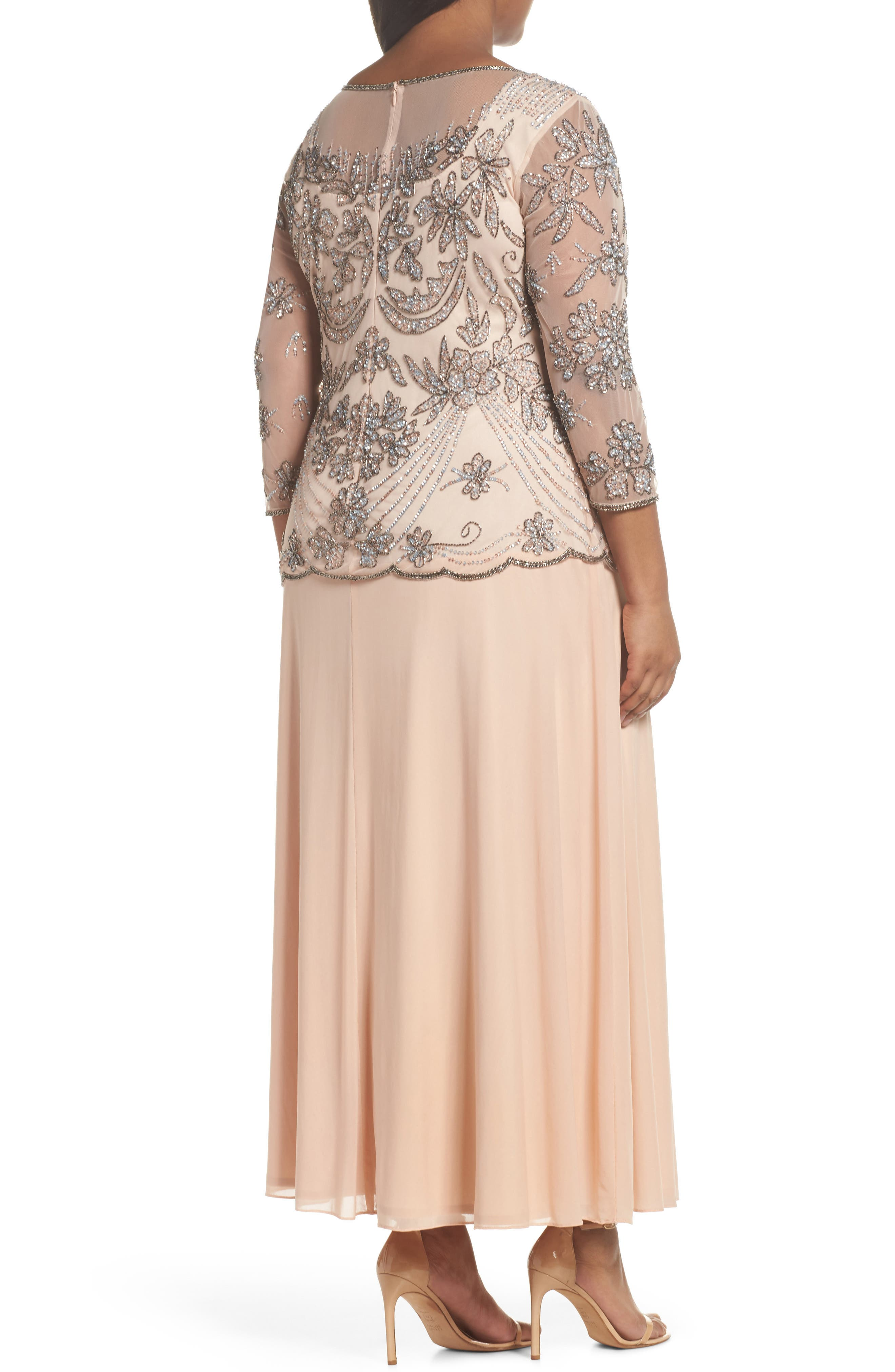 Embellished Illusion Bodice Gown,                             Alternate thumbnail 2, color,                             Blush