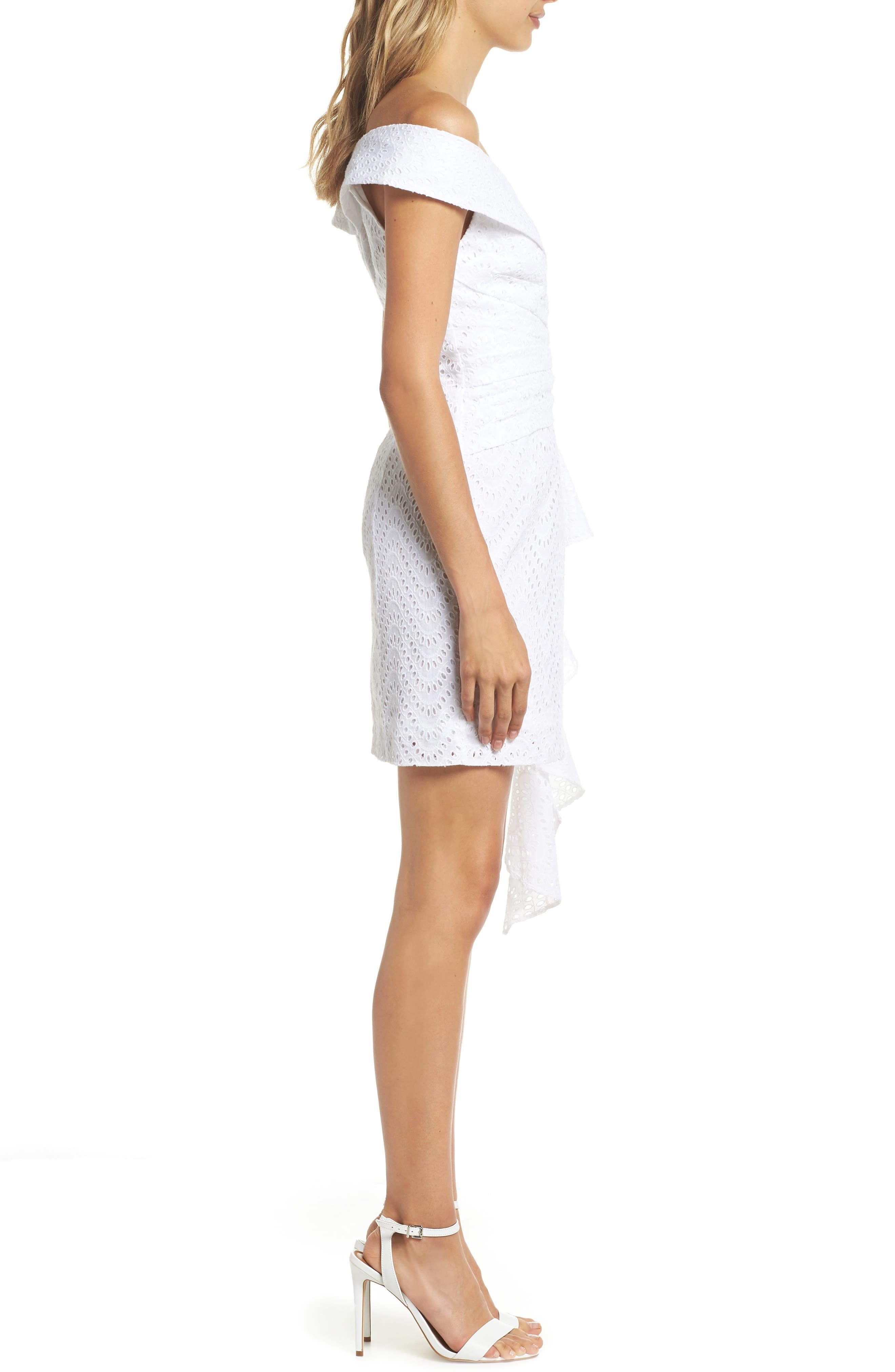 Mazzy Off the Shoulder Eyelet Dress,                             Alternate thumbnail 3, color,                             Ivory