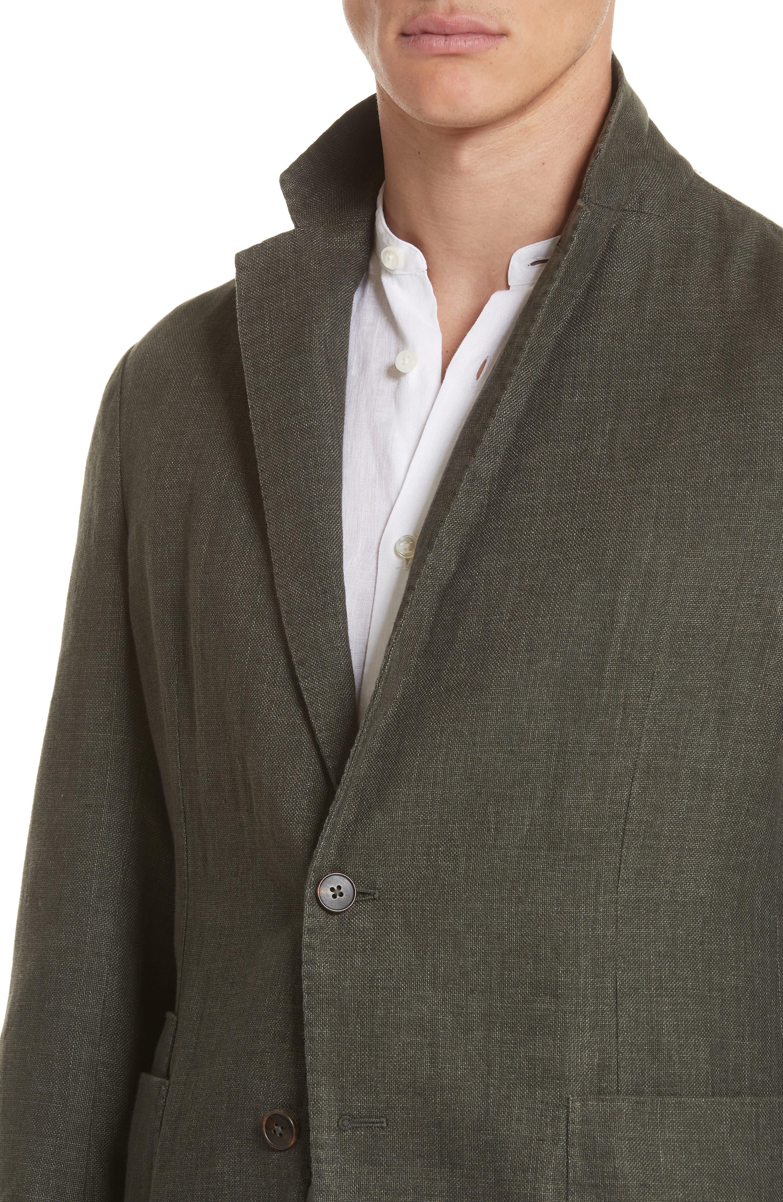 Trim Fit Linen & Cotton Blazer,                             Alternate thumbnail 4, color,                             Green