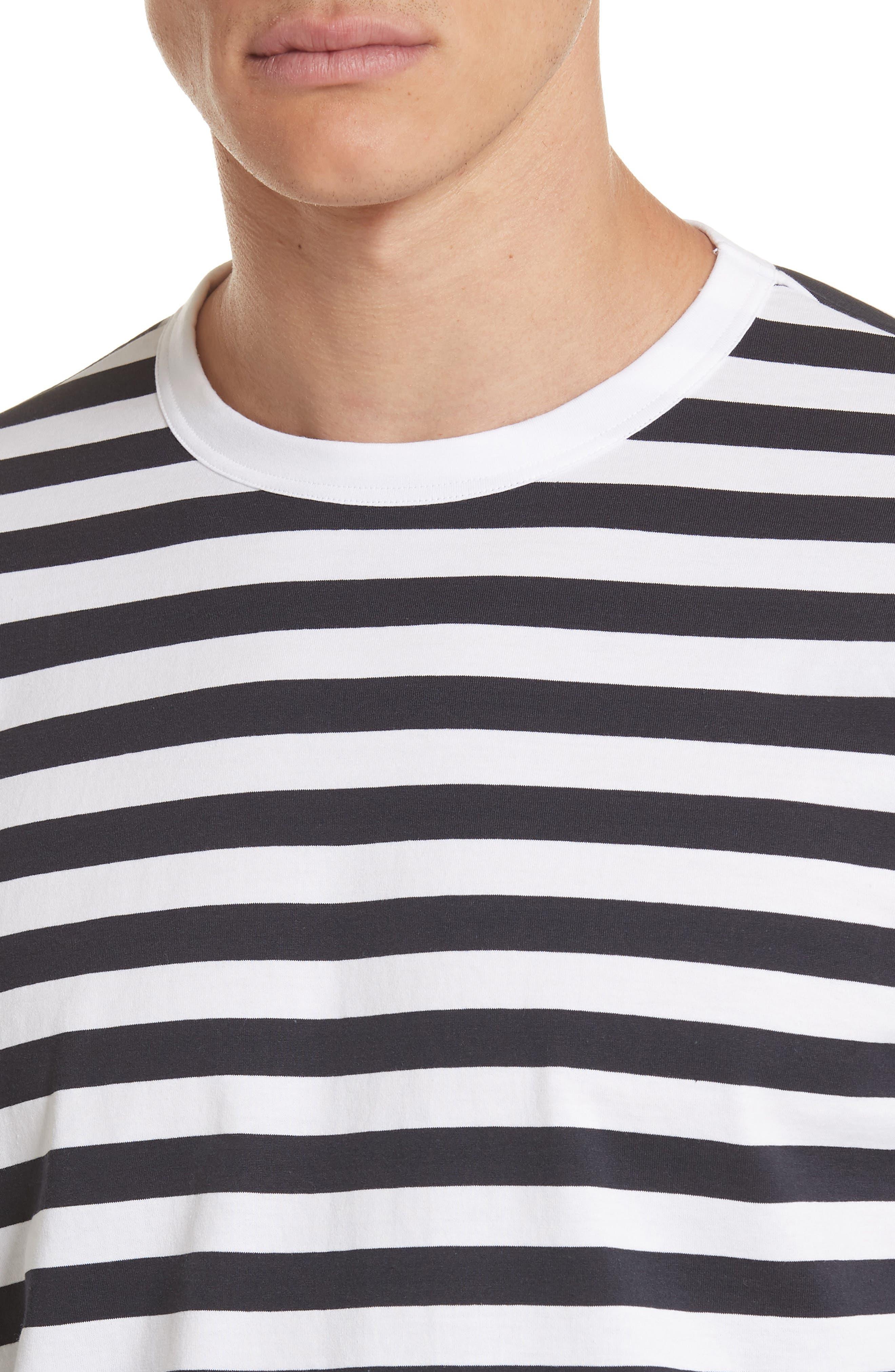 Stripe Long Sleeve T-Shirt,                             Alternate thumbnail 4, color,                             White/Navy