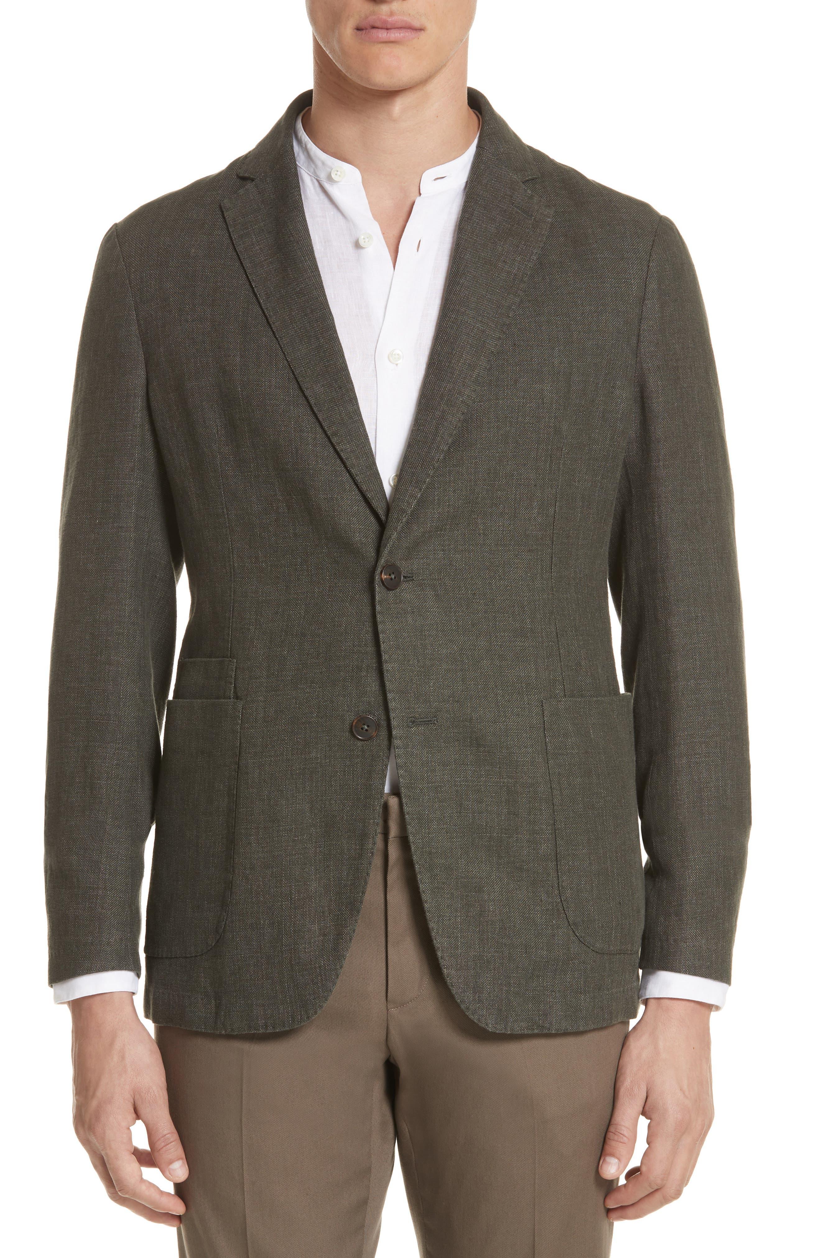 Trim Fit Linen & Cotton Blazer,                         Main,                         color, Green