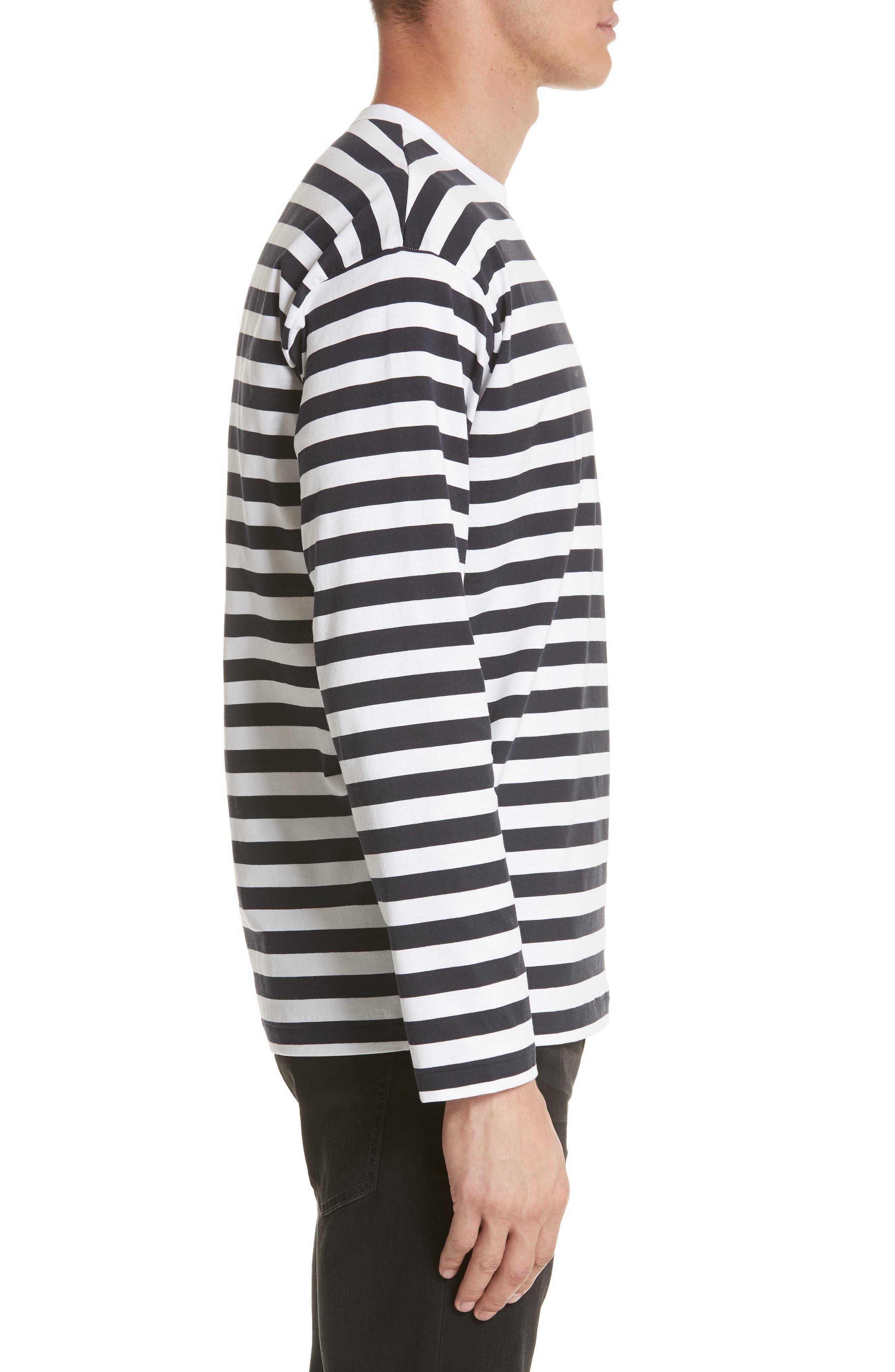 Stripe Long Sleeve T-Shirt,                             Alternate thumbnail 3, color,                             White/Navy