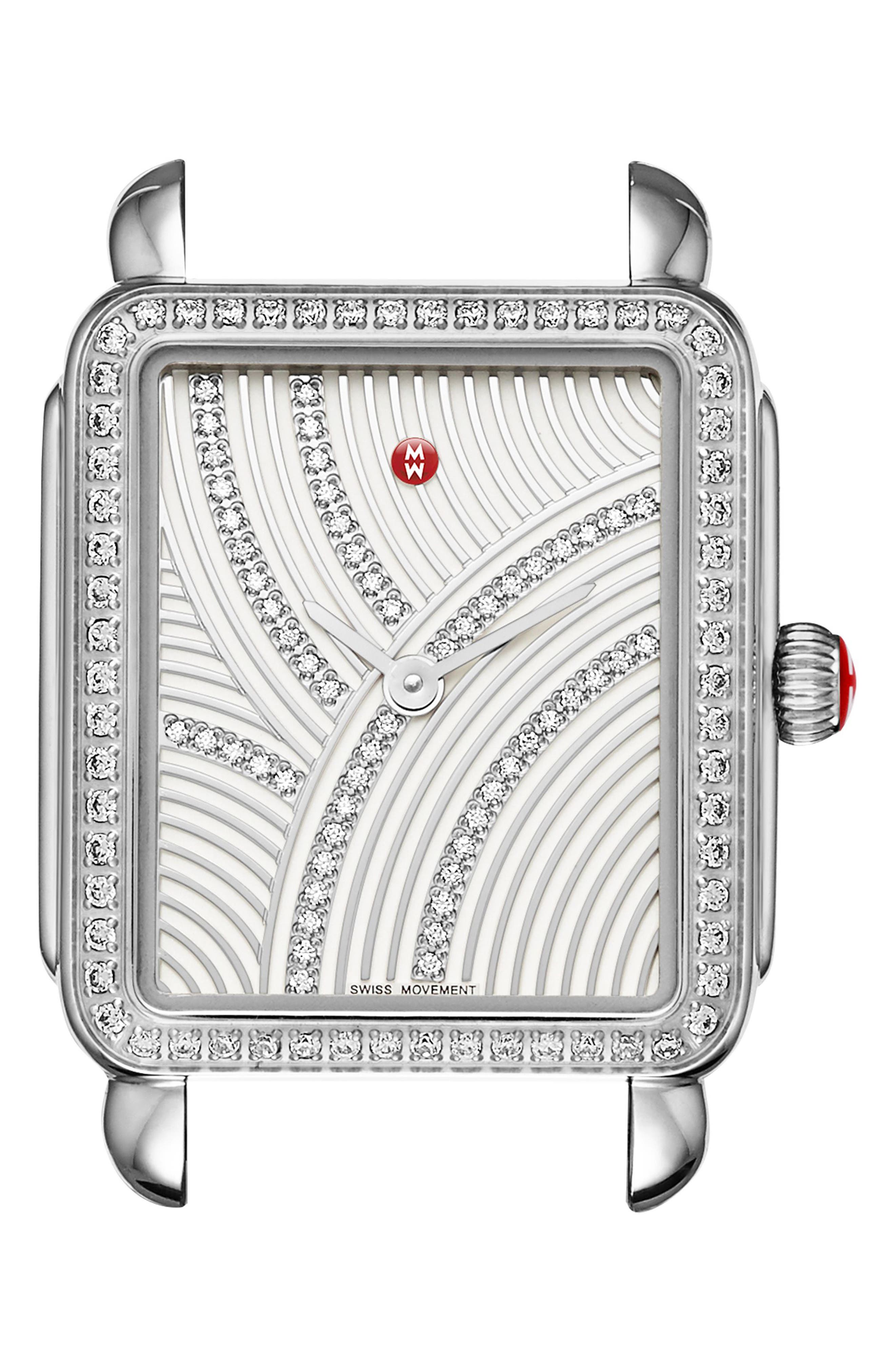 Deco II Mid Uptown Diamond Dial Watch Head, 26mm x 28mm,                         Main,                         color, Silver Metallic