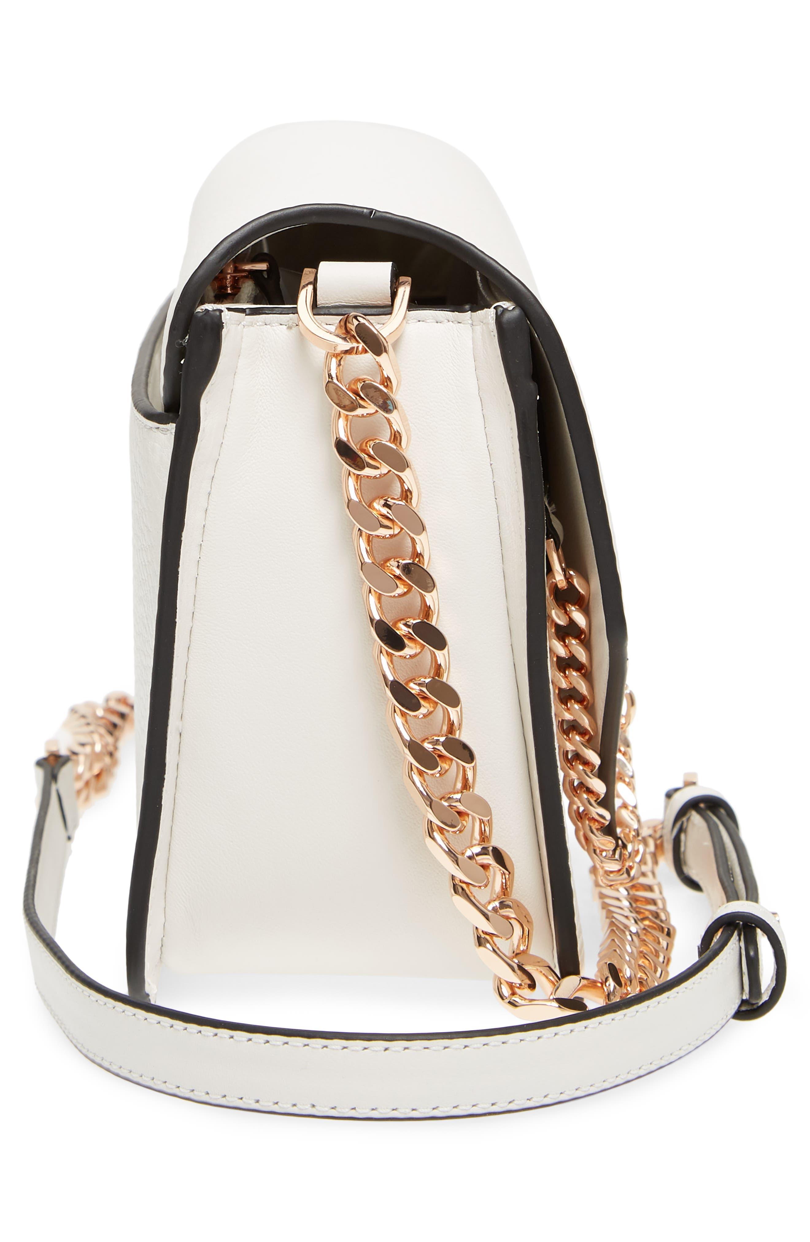 Cortney Nappa Leather Shoulder/Crossbody Bag,                             Alternate thumbnail 5, color,                             White/ Rose Gold