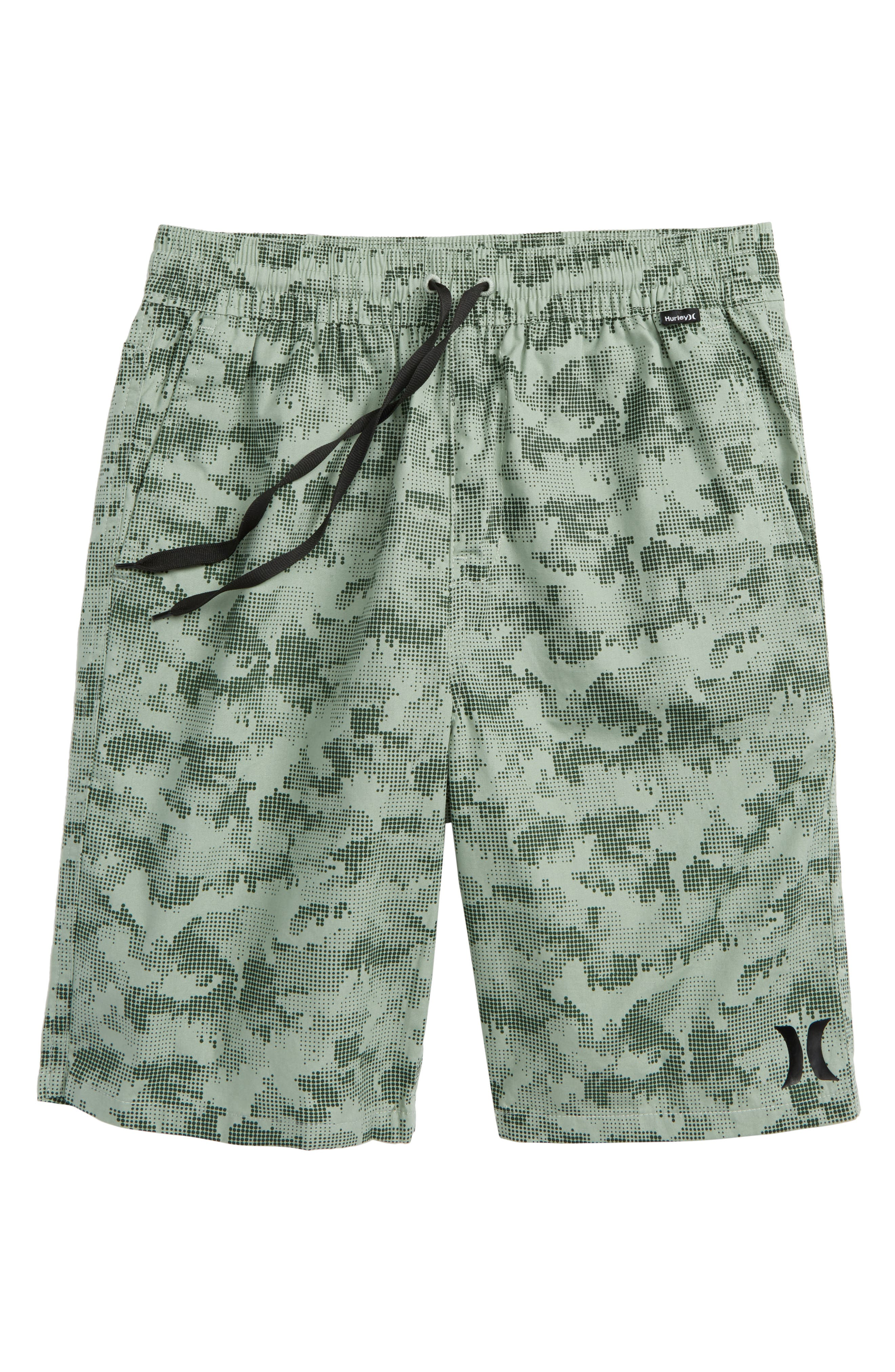 Print Pull-On Shorts,                         Main,                         color, Clay Green