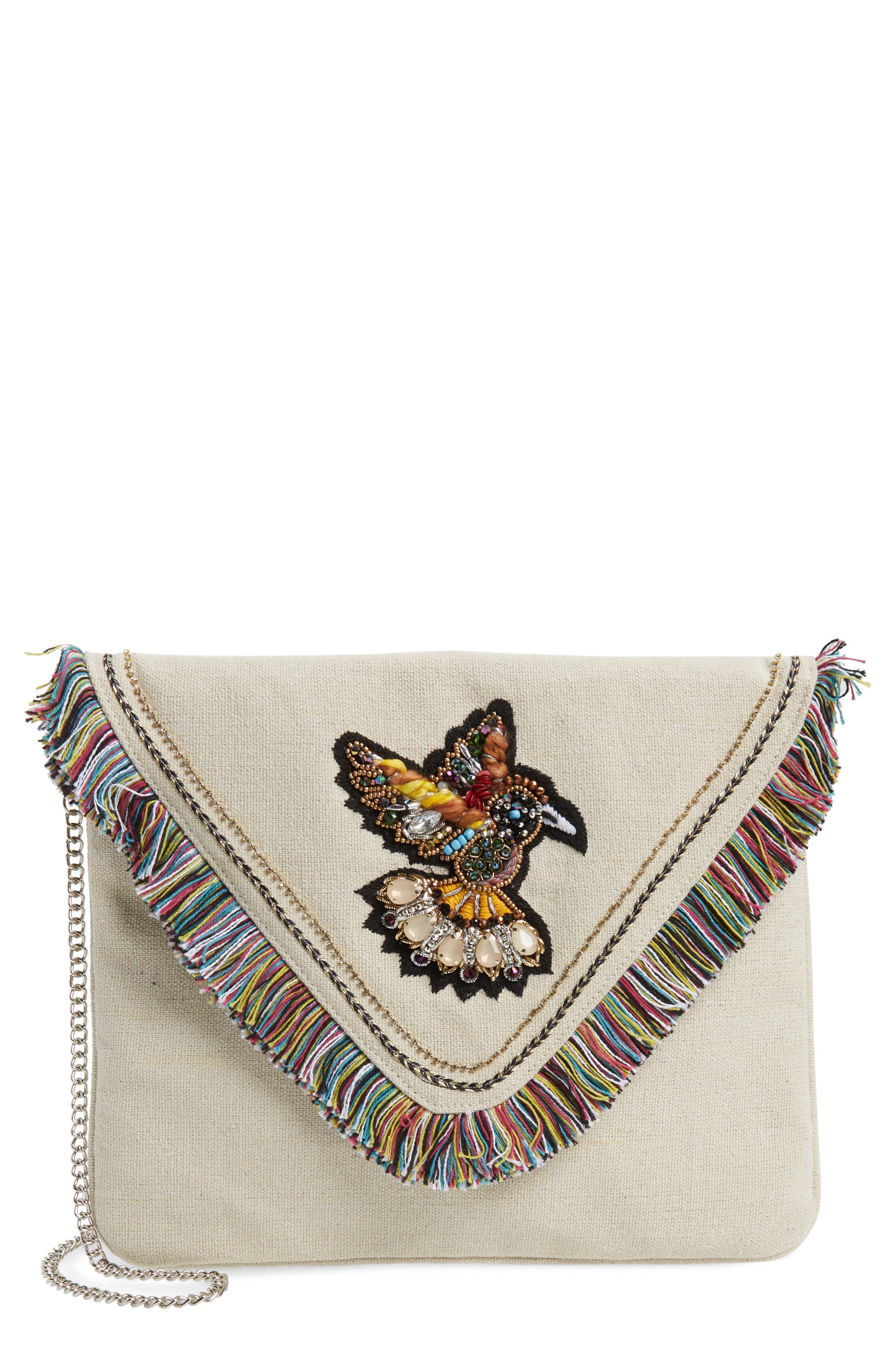 Bird Appliqué Oversize Envelope Clutch,                         Main,                         color, Natural
