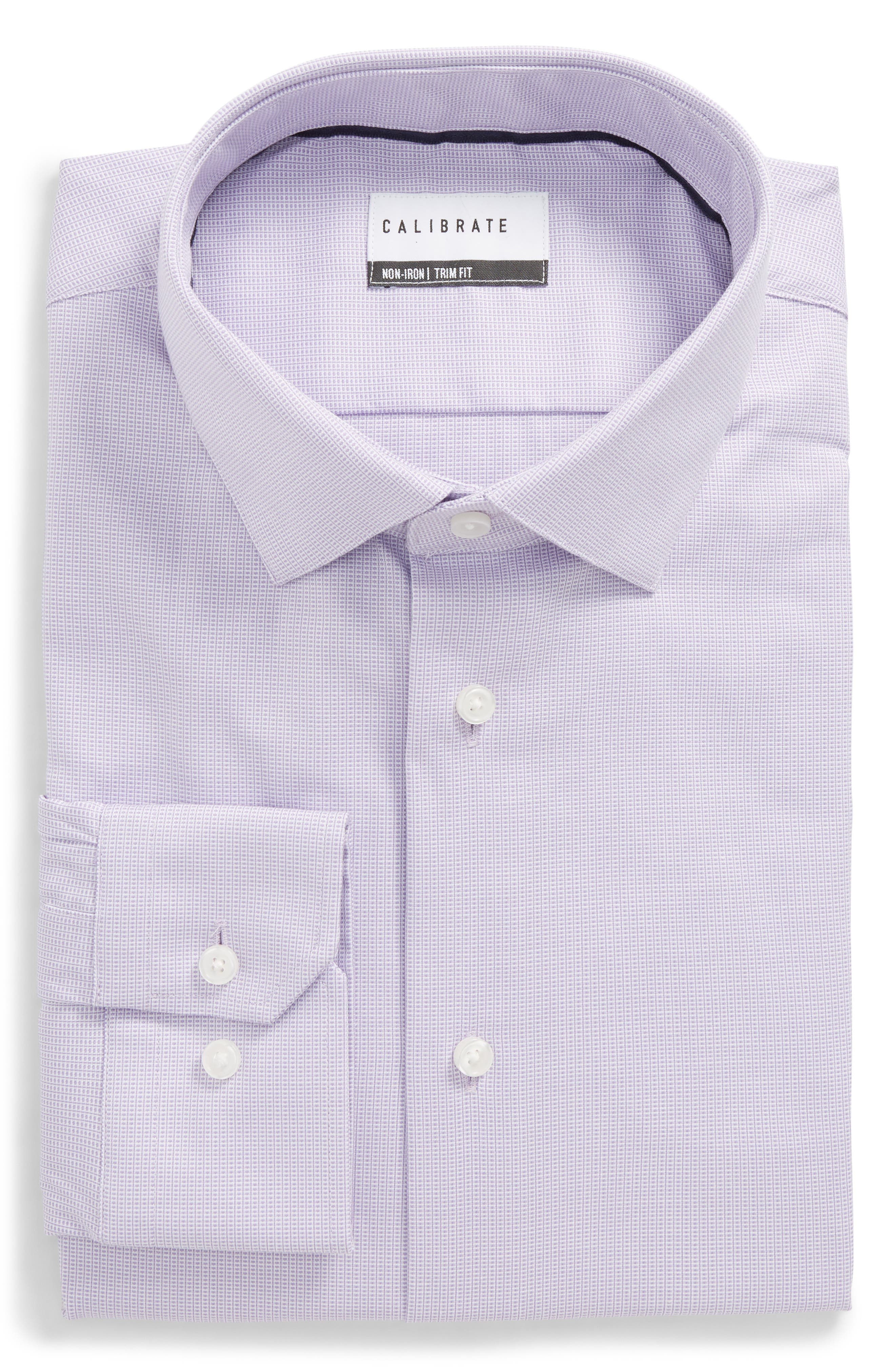 Trim Fit Non-Iron Stretch Dress Shirt,                             Main thumbnail 1, color,                             Purple Rapsody